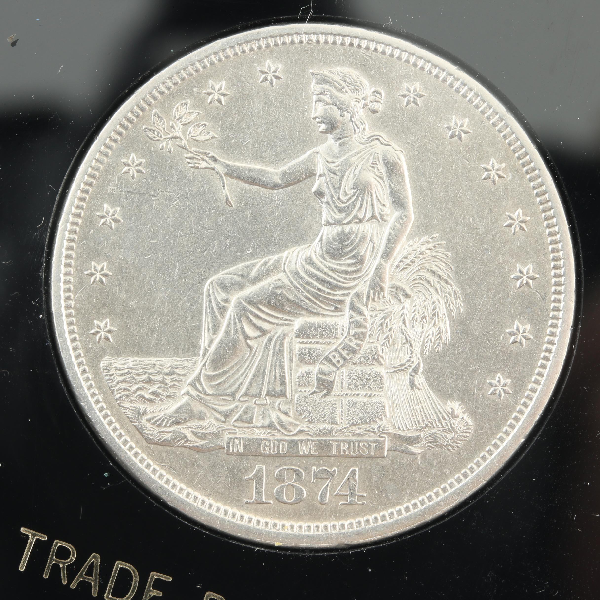 Better Date 1874-CC Trade Silver Dollar