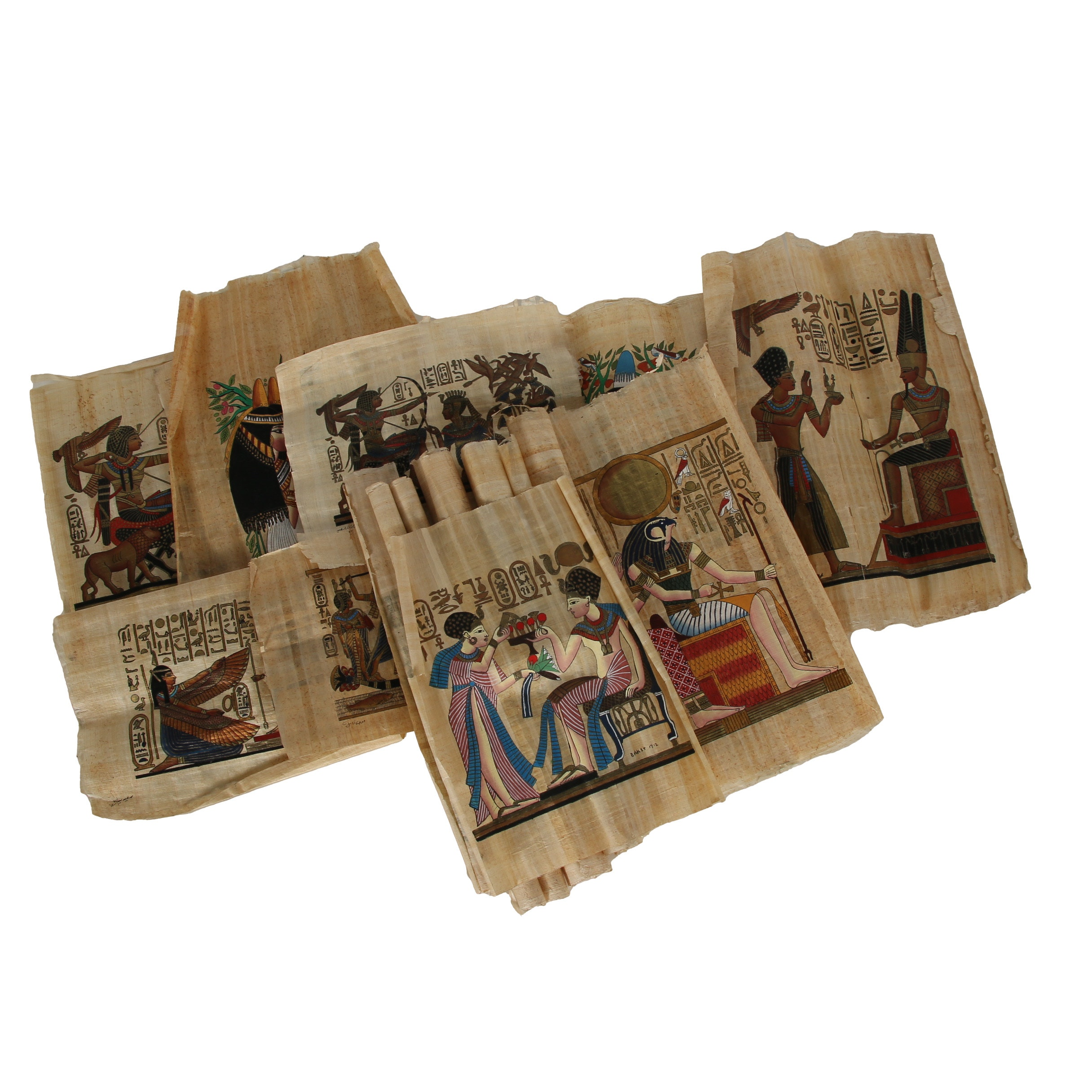 Late 20th Century Gouache Papyrus Paintings