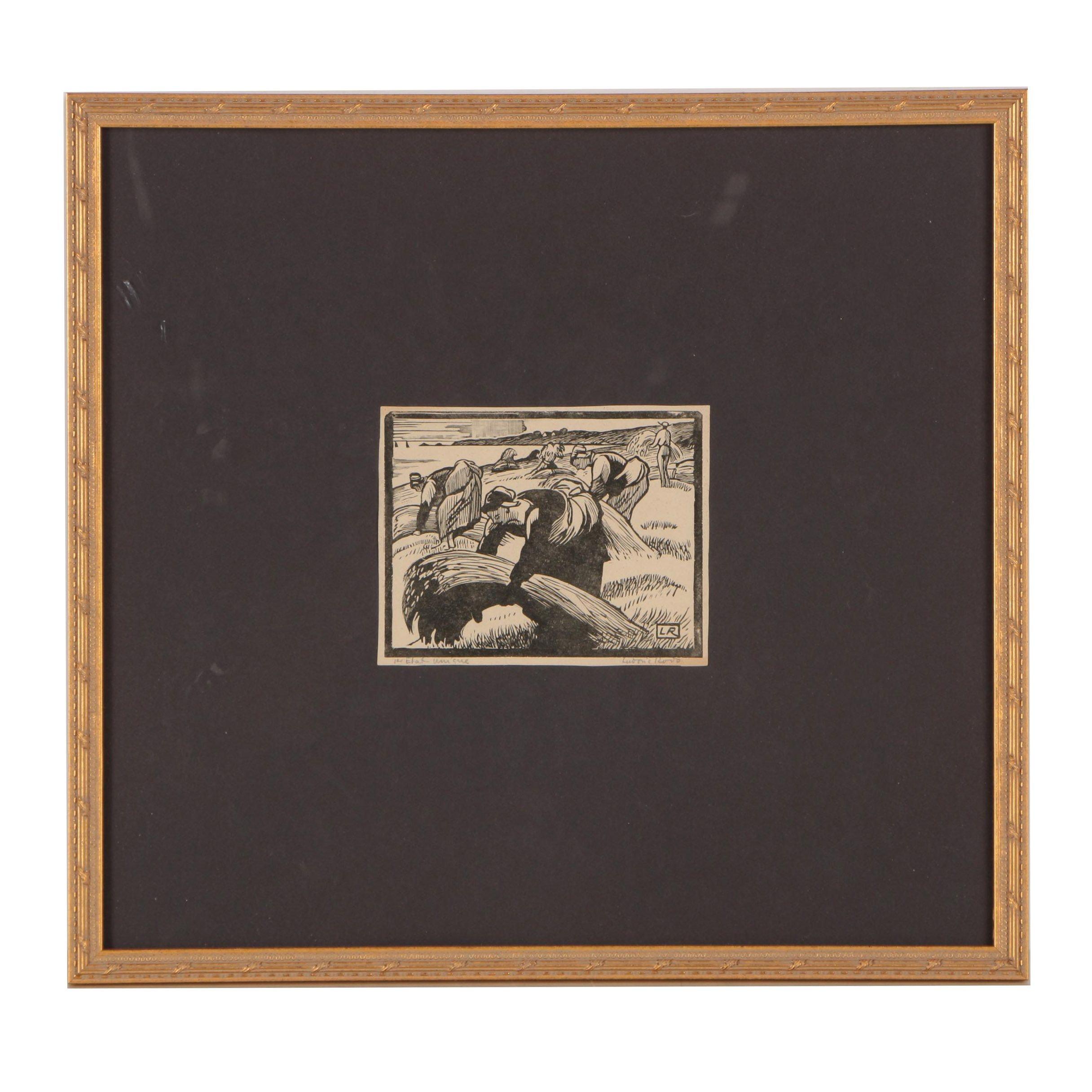 Ludovic-Rodo Pissarro Circa 1930's Limited Edition Woodblock