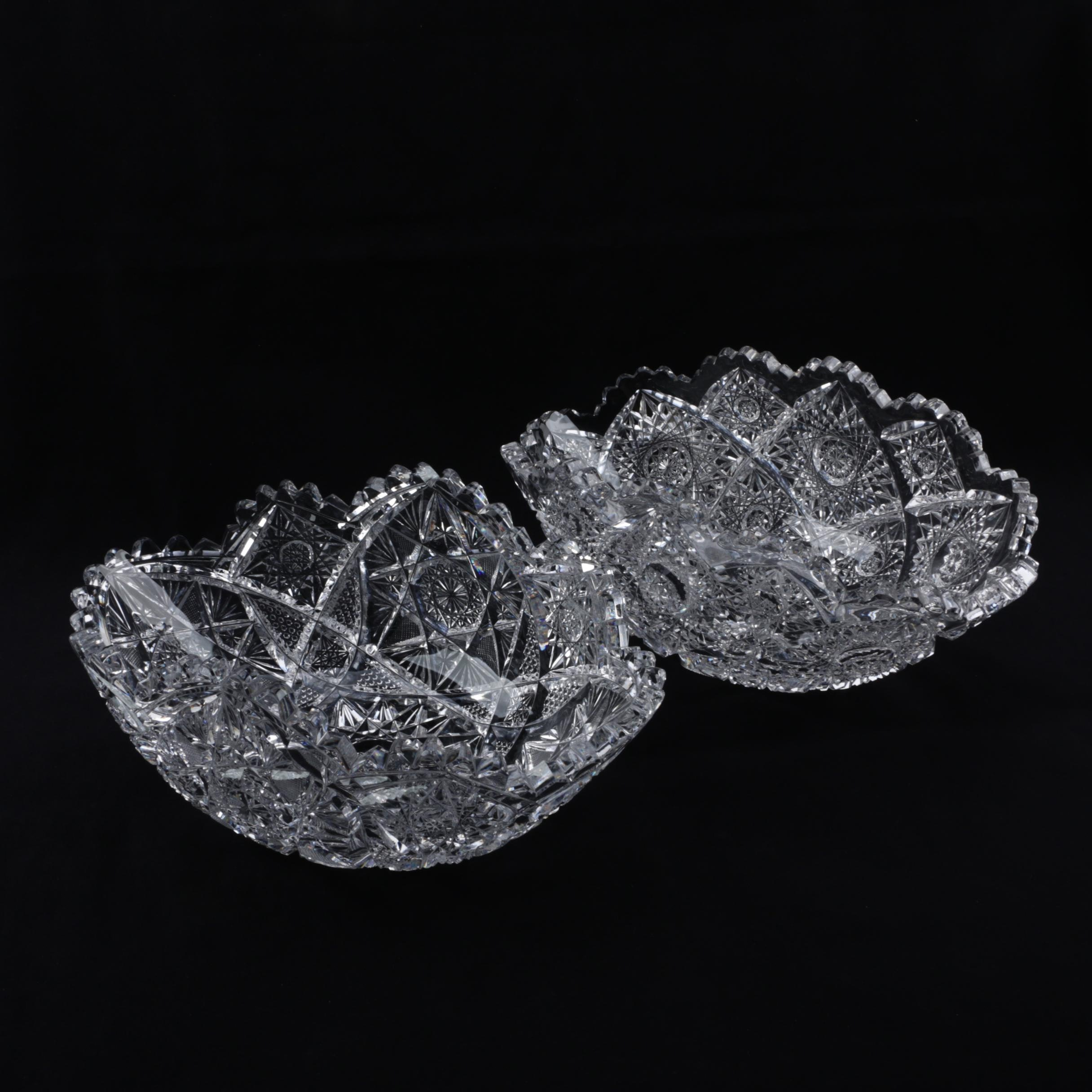 Antique American Brilliant Period Cut Glass Bowls