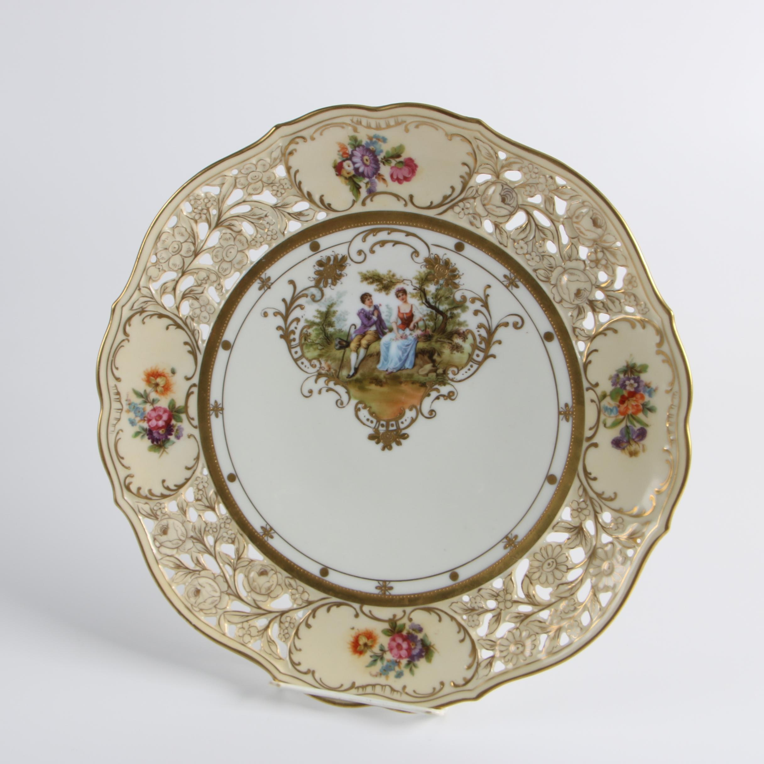Antique German Pierced Porcelain Cabinet Plate with Courting Scene