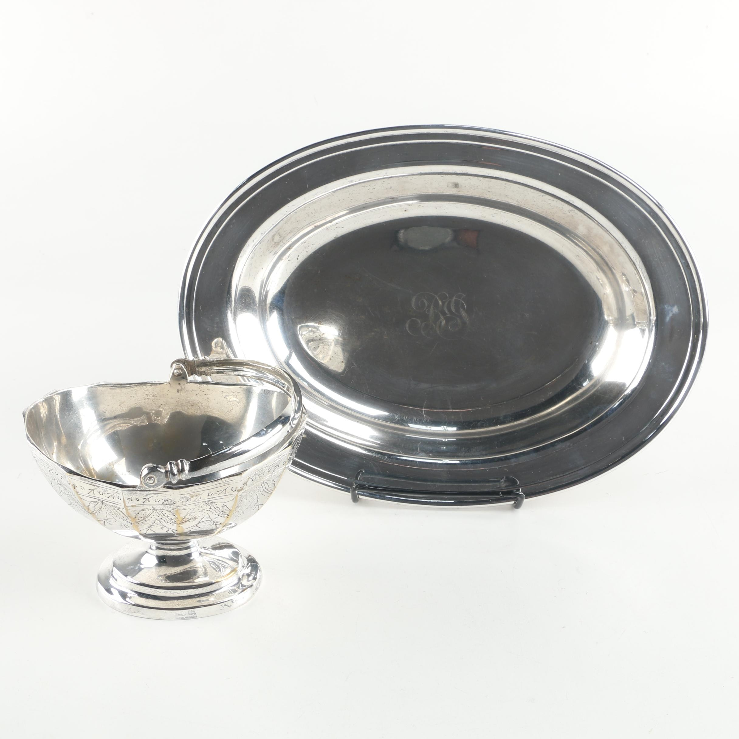 Sheffield Silver Co. Silver Plate Vegetable Dish with Silver Plate Sugar Basket
