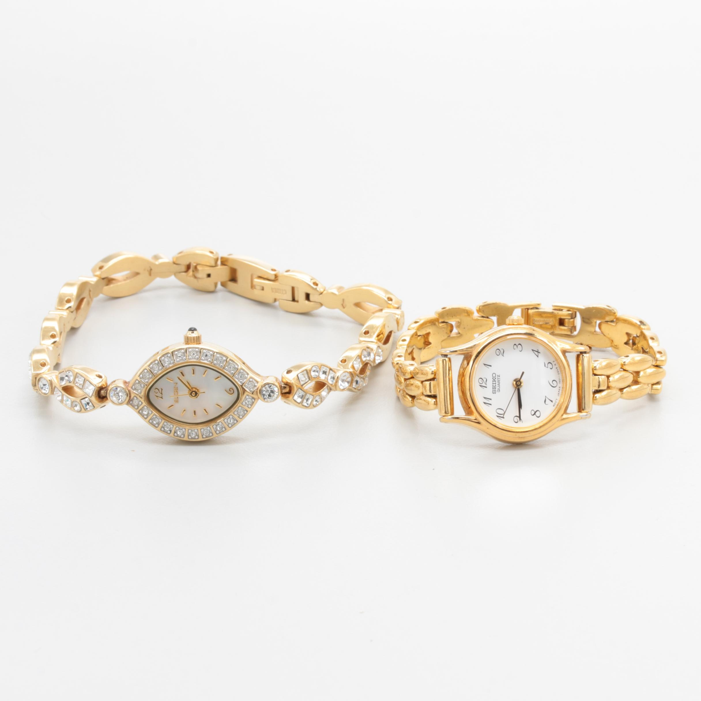 Gold Tone Stainless Steel Wristwatch Selection with Mother of Pearl and Glass