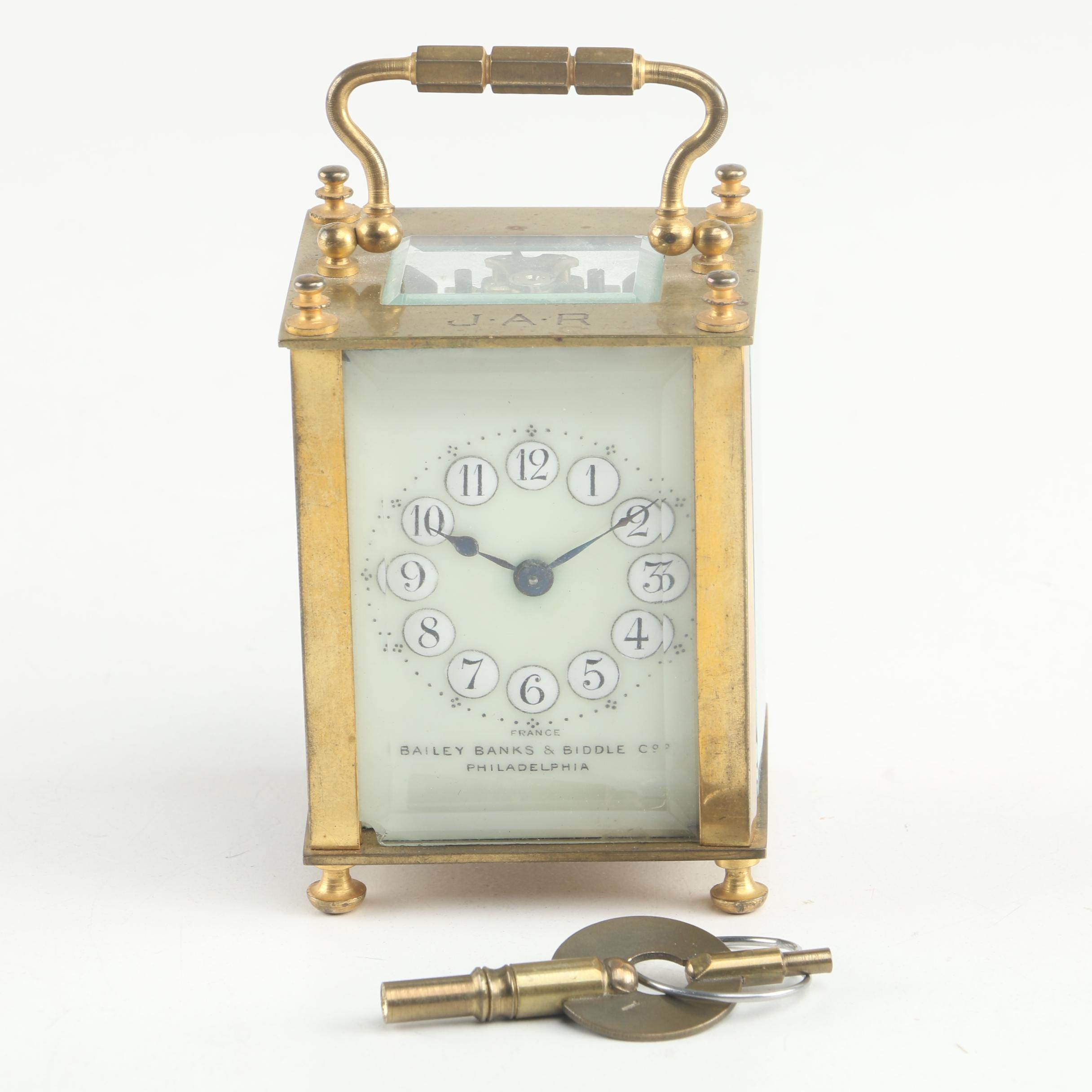 Antique French Dulverdry & Bloquel Carriage Clock for Bailey Banks & Biddle Co.