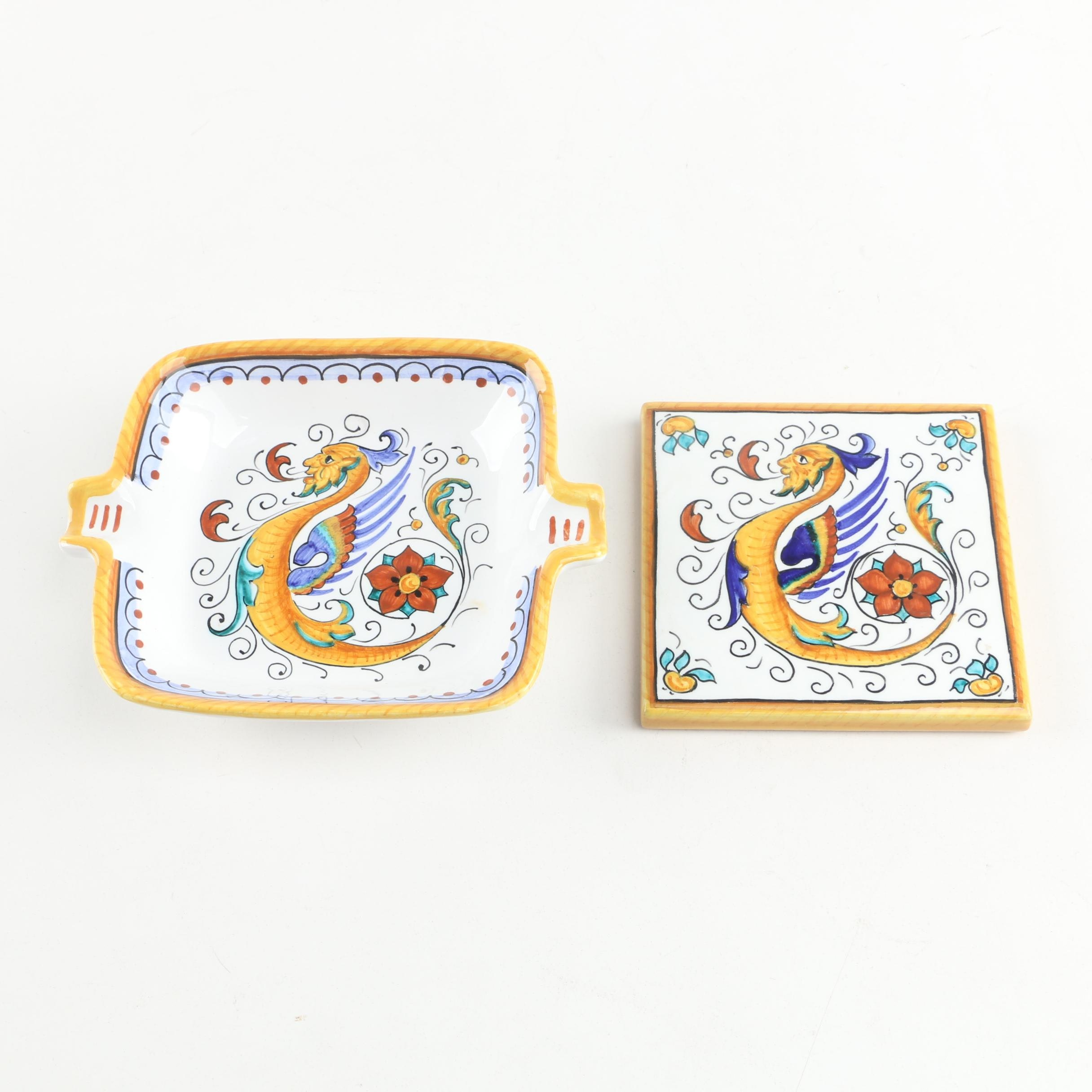 Grazia Deruta Raffellseco Italian Pottery Ash Receiver and Tile