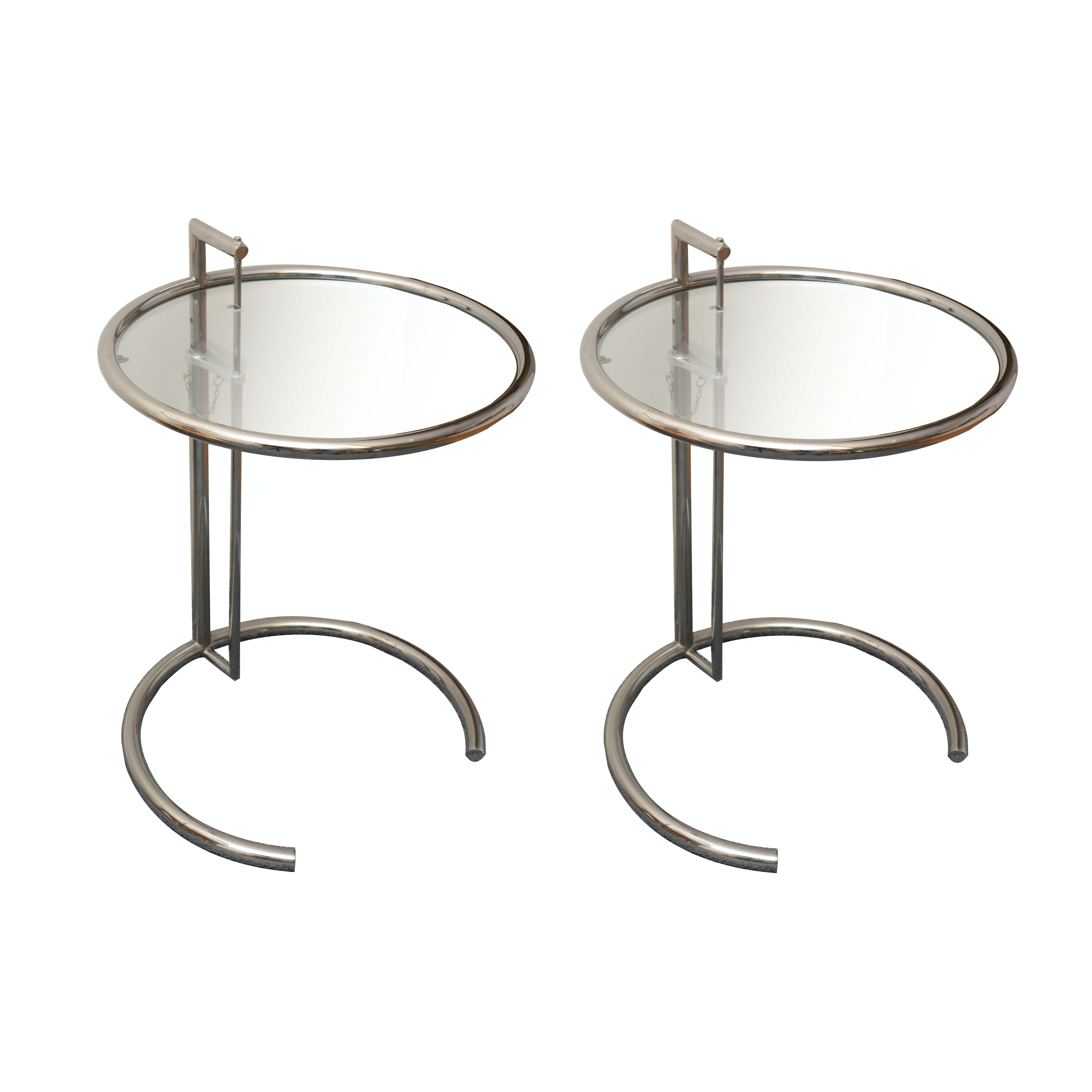 Pair of Glass and Metal Side Tables after Eileen Gray