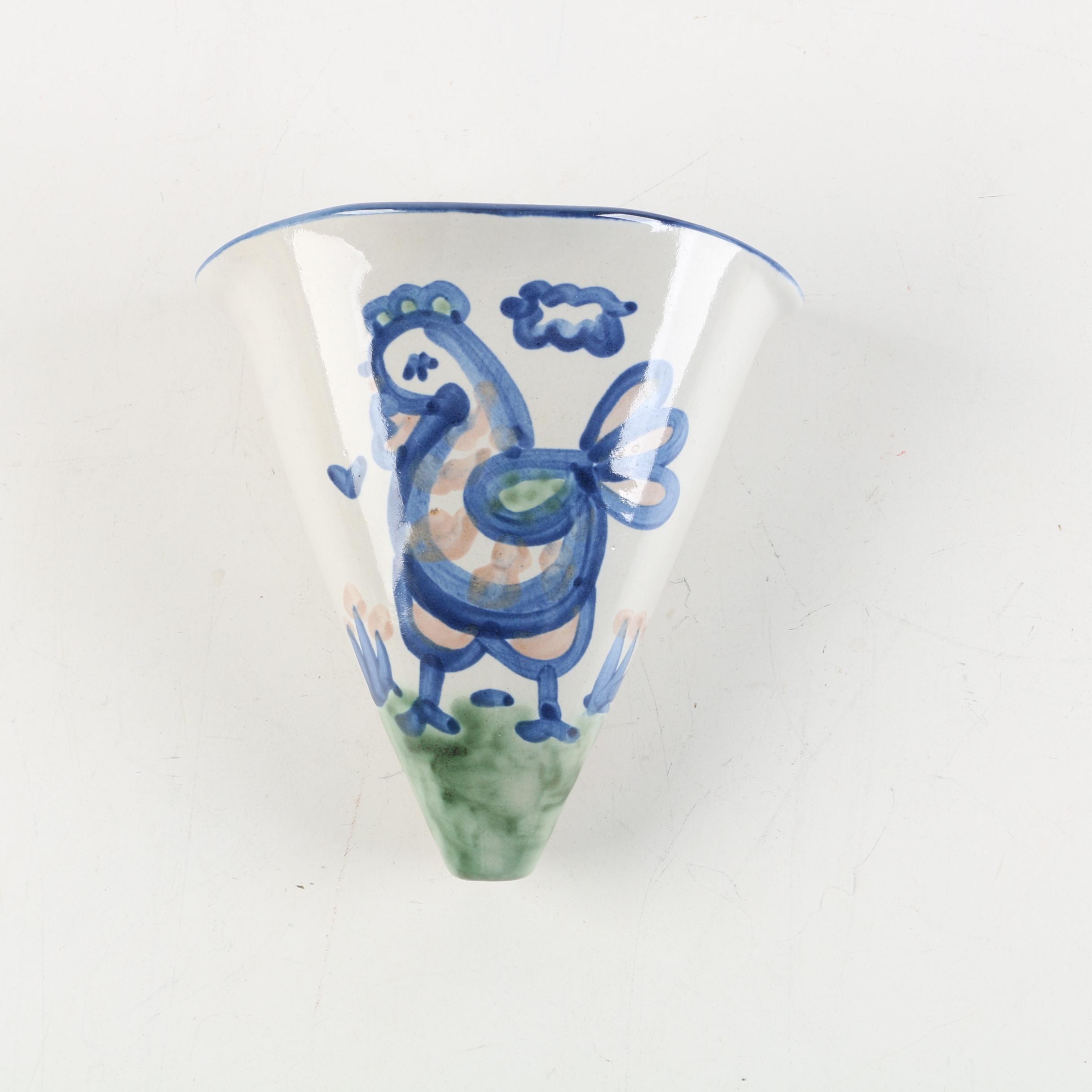 "M.A. Hadley Stoneware ""Chicken"" Wall Pocket Vase"