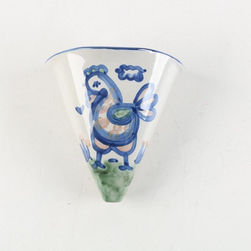 Ma Hadley Stoneware Chicken Wall Pocket Vase Ebth