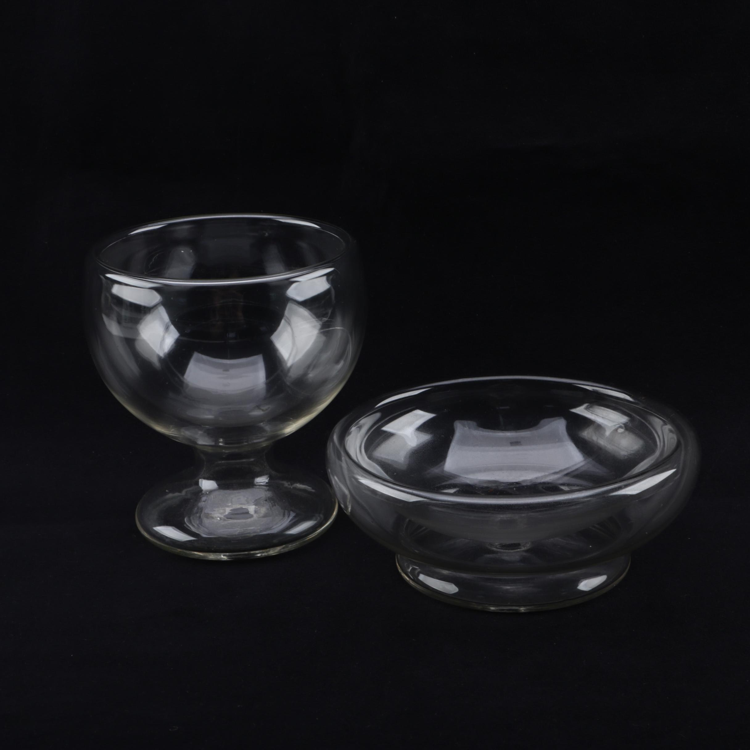Double-Walled Blown Glass Footed Bowls