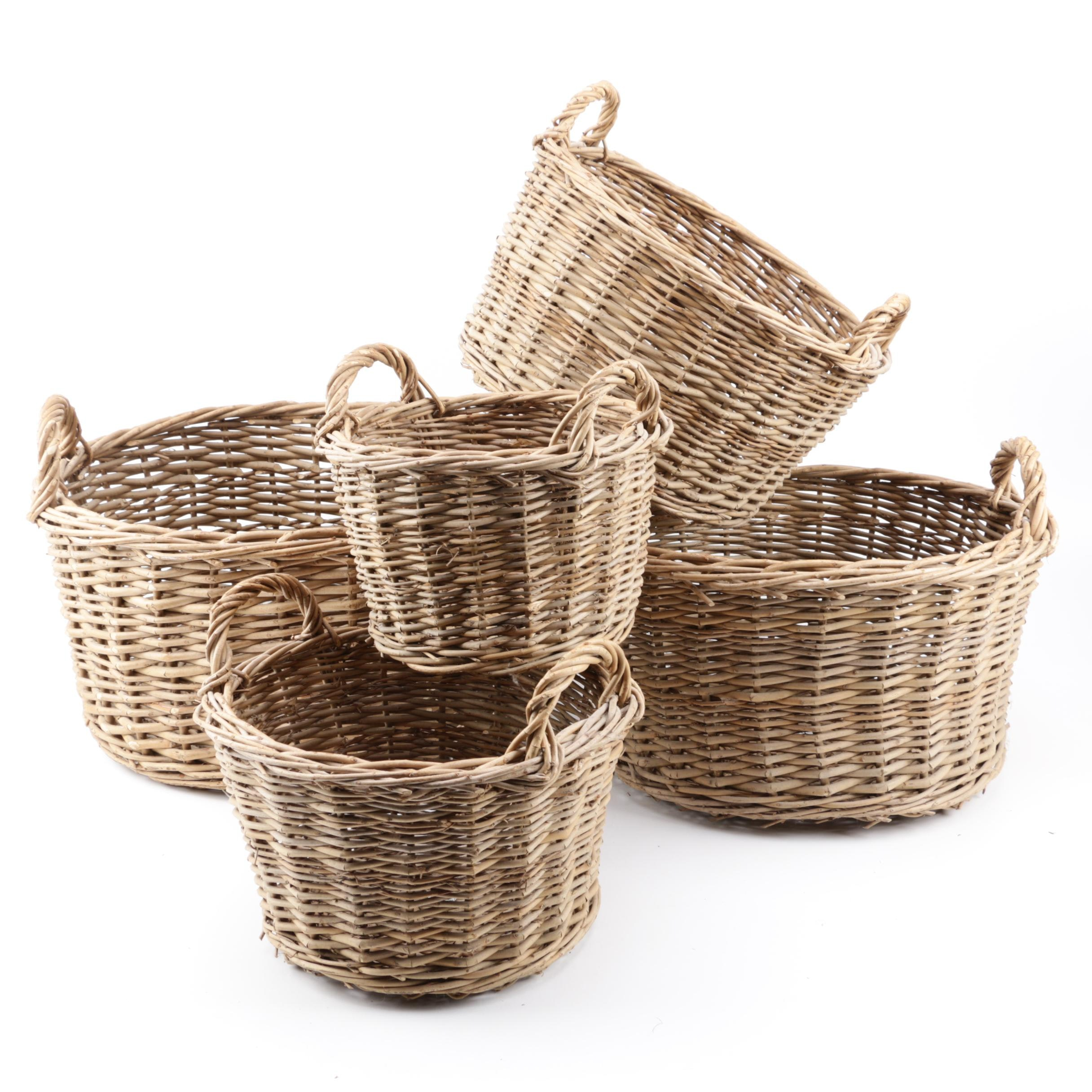 Wicker Woven Nesting Baskets with Handles