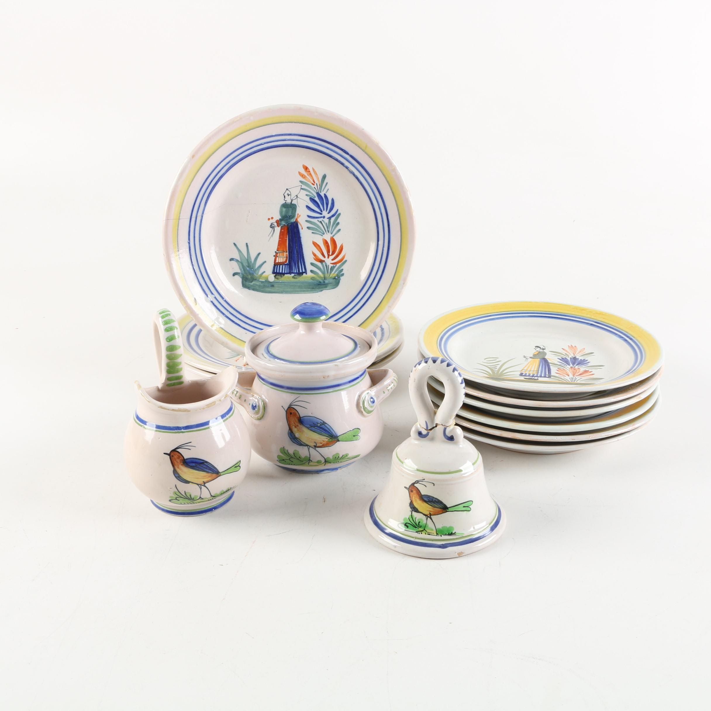 Fratelli Fanciullacci and Henriot Quimper Faience Tableware and Bell