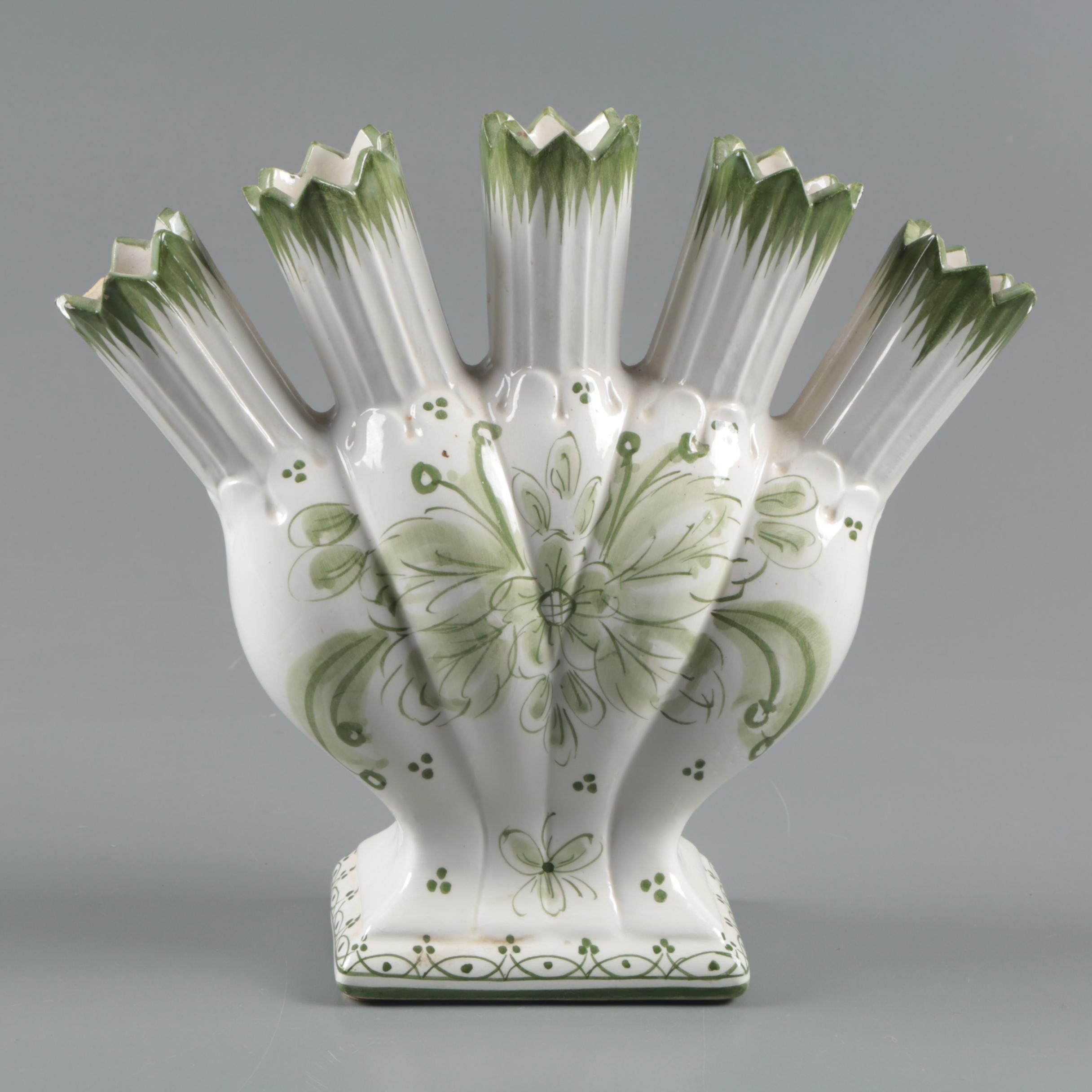 Hand-Painted Ceramic Five Finger Tulipiere