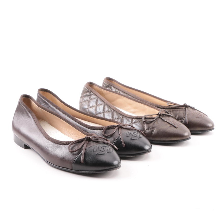 e2ac606aa651 Women s Chanel Leather and Quilted Leather Flats   EBTH