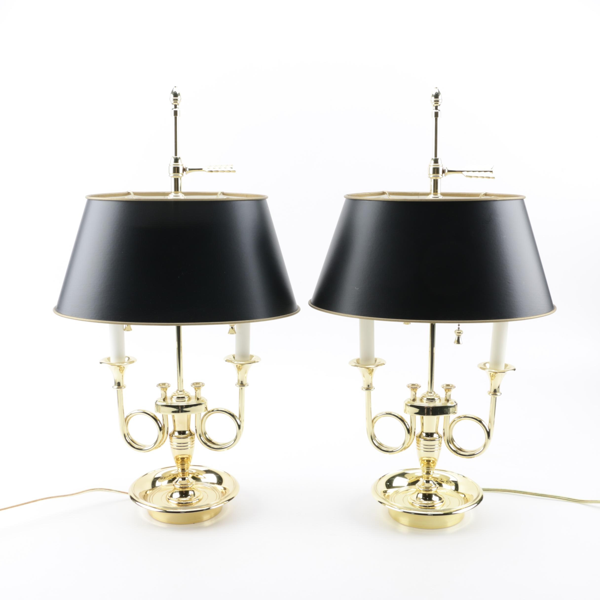 Baldwin Bouillotte Style Double Light Brass Table Lamps