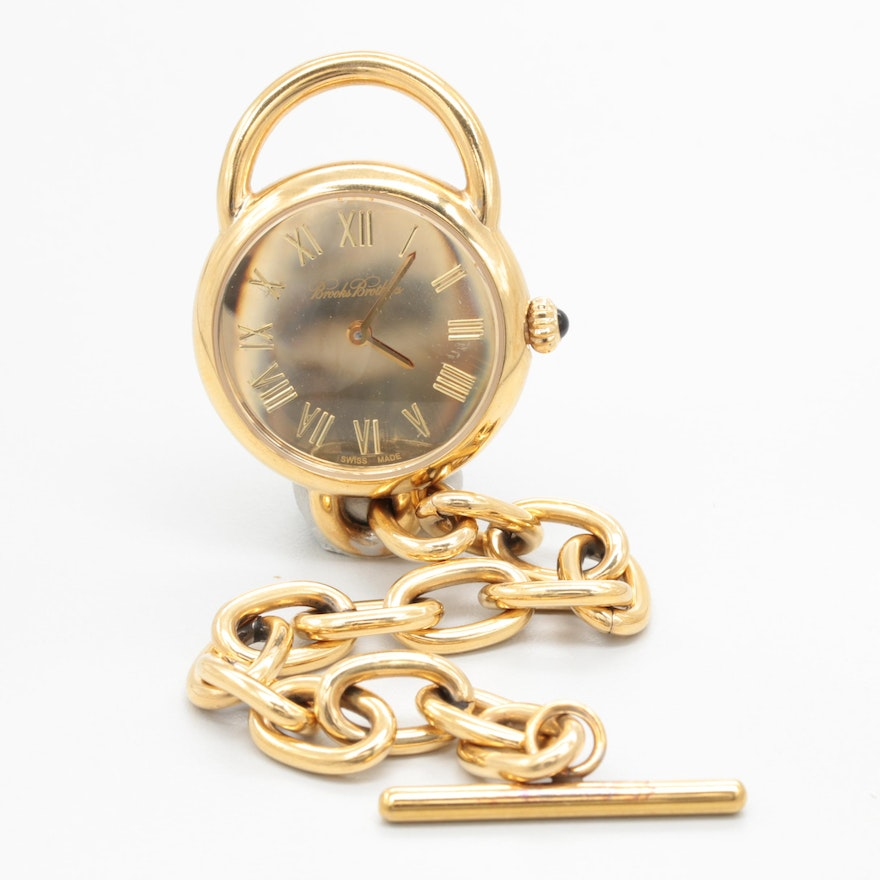 Brooks Brothers Gold Tone Stainless Steel Open Face Pocket Watch