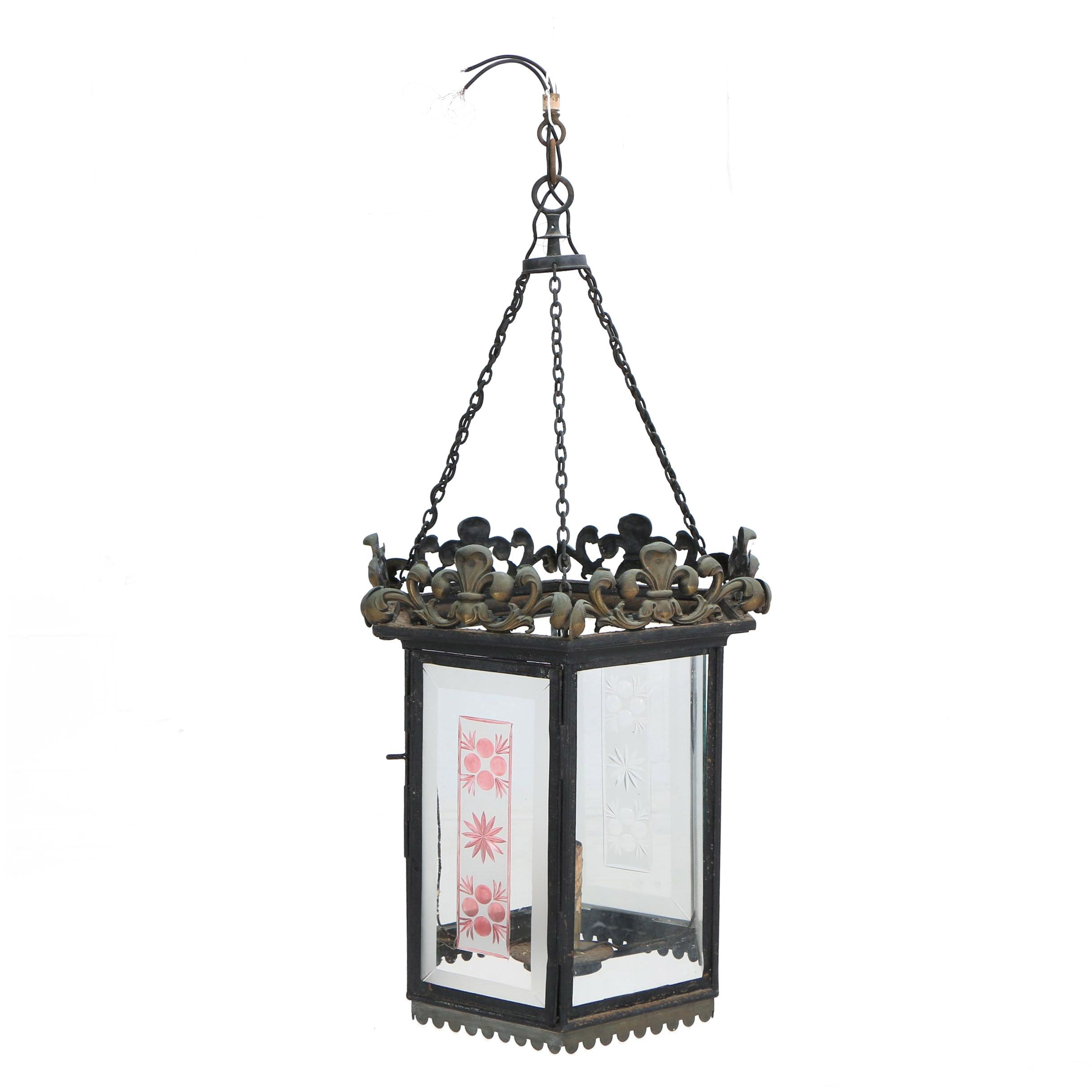 Hexagonal Metal and Glass Lantern with Etched Glass Panels