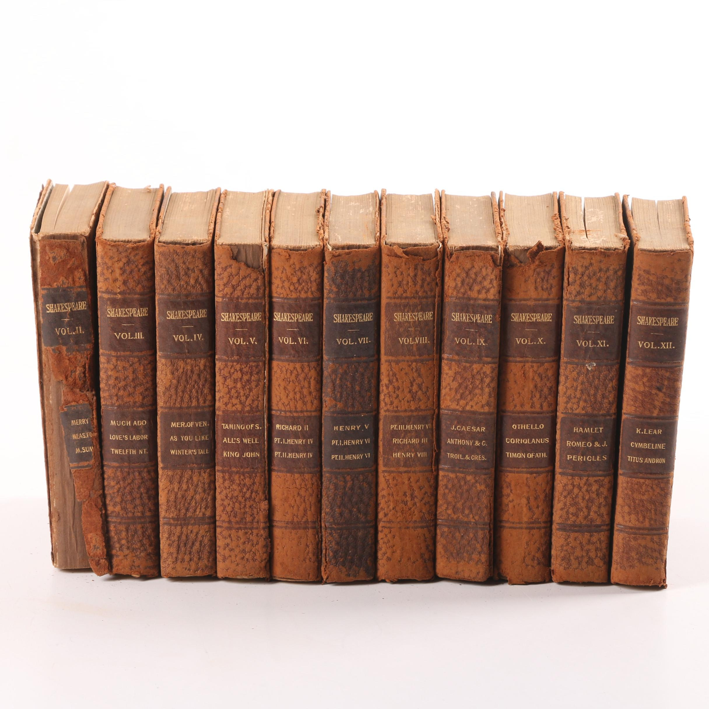 """Antique """"Complete Works of Shakespeare"""" in Eleven Volumes"""