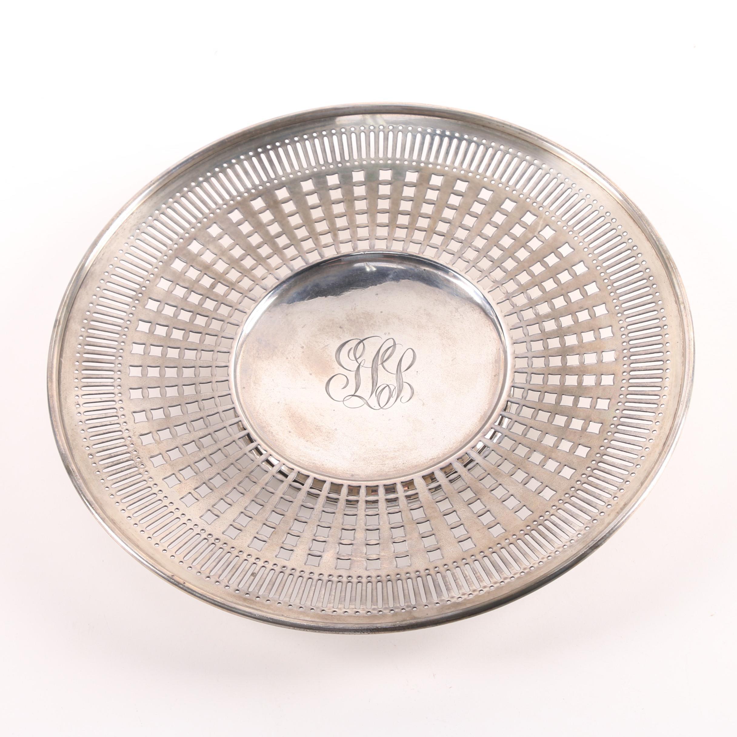 Watrous Mfg. Co. Sterling Silver Pierced Pedestal Serving Plate