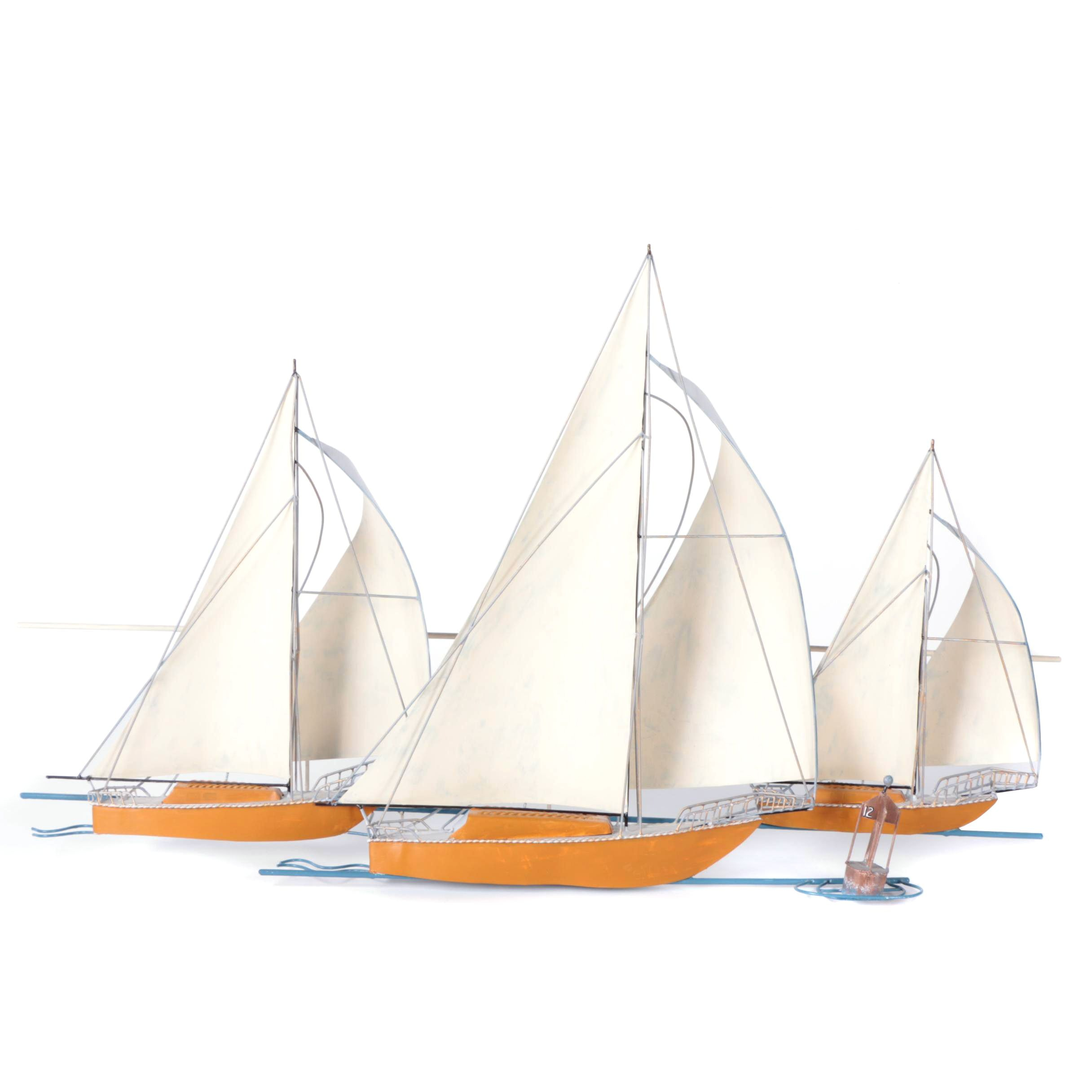 """Nmd """"At The Races"""" Metal Sculpture of Sailboats and Dinghy"""