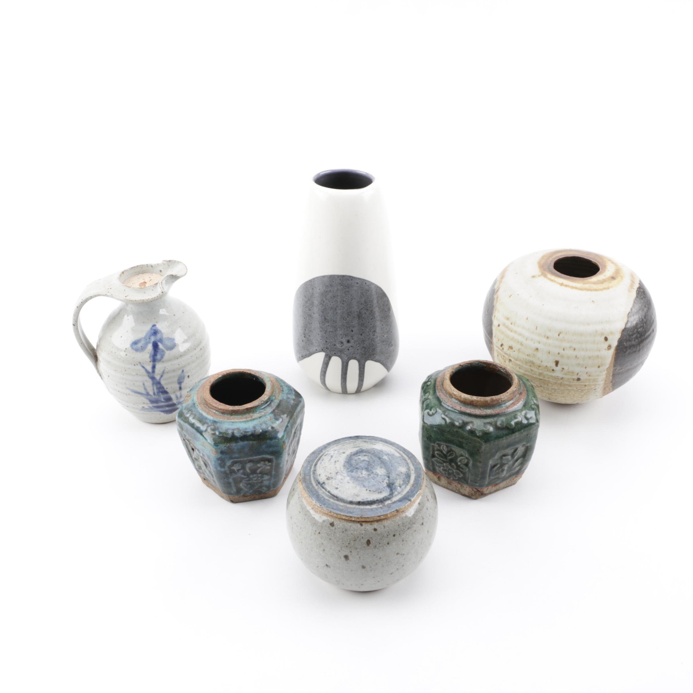 Lapid Israel Ceramic Vase with Chinese Stoneware Jars and Other Art Pottery