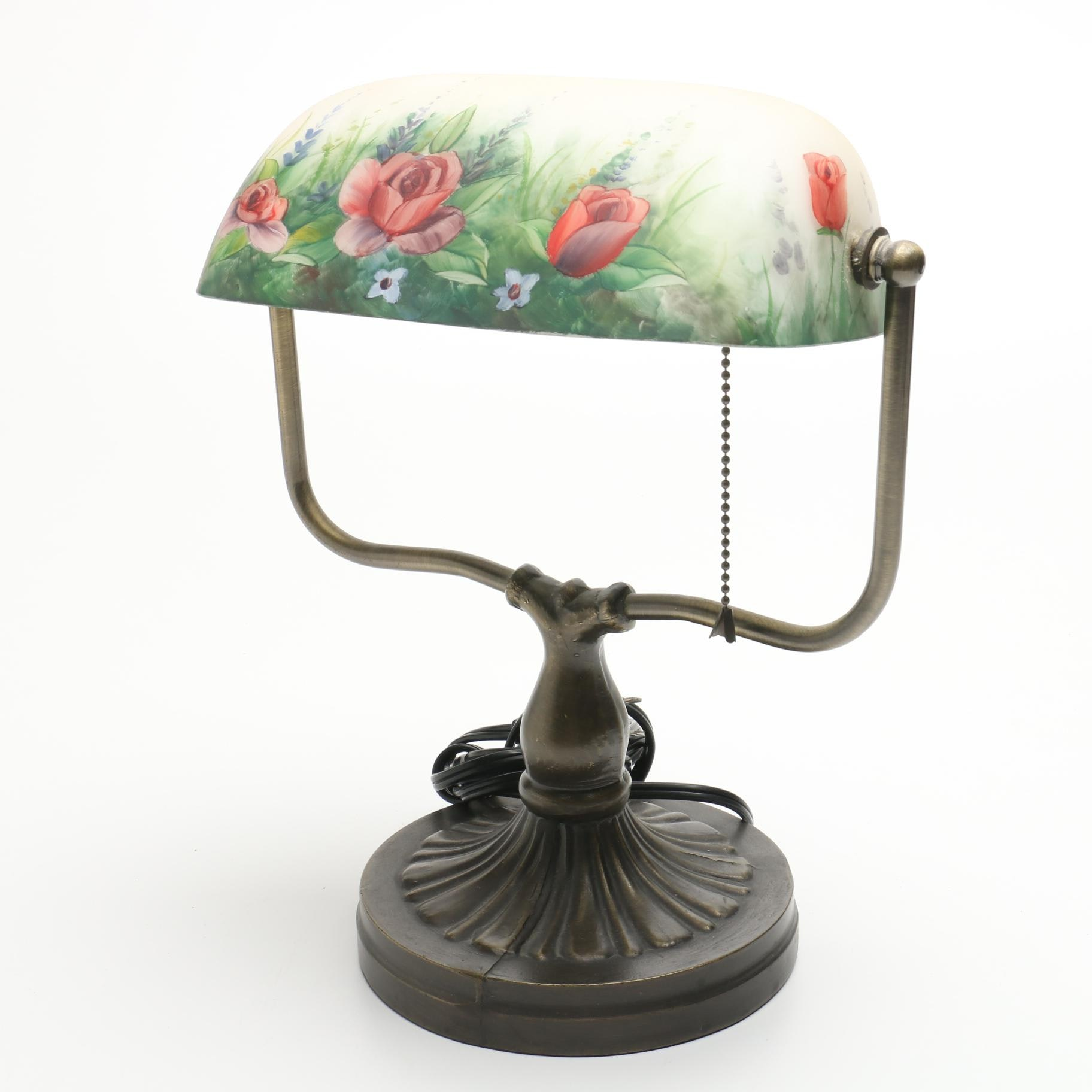 Metal Desk Lamp with Painted Glass Shade