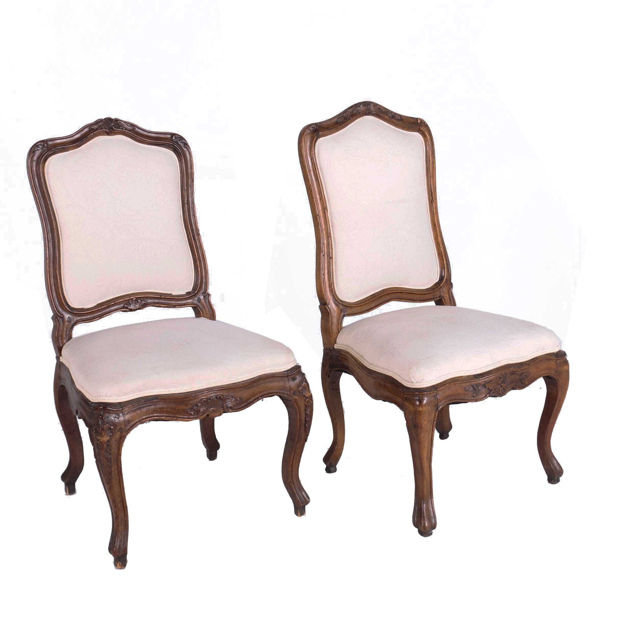 Two Louis XV Style Walnut Side Chairs, 19th Century