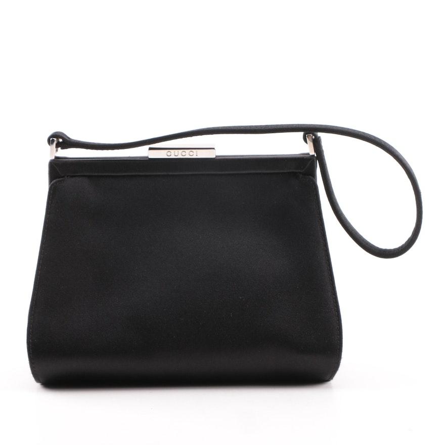 c07a060f73e Vintage Gucci Black Satin Evening Bag   EBTH