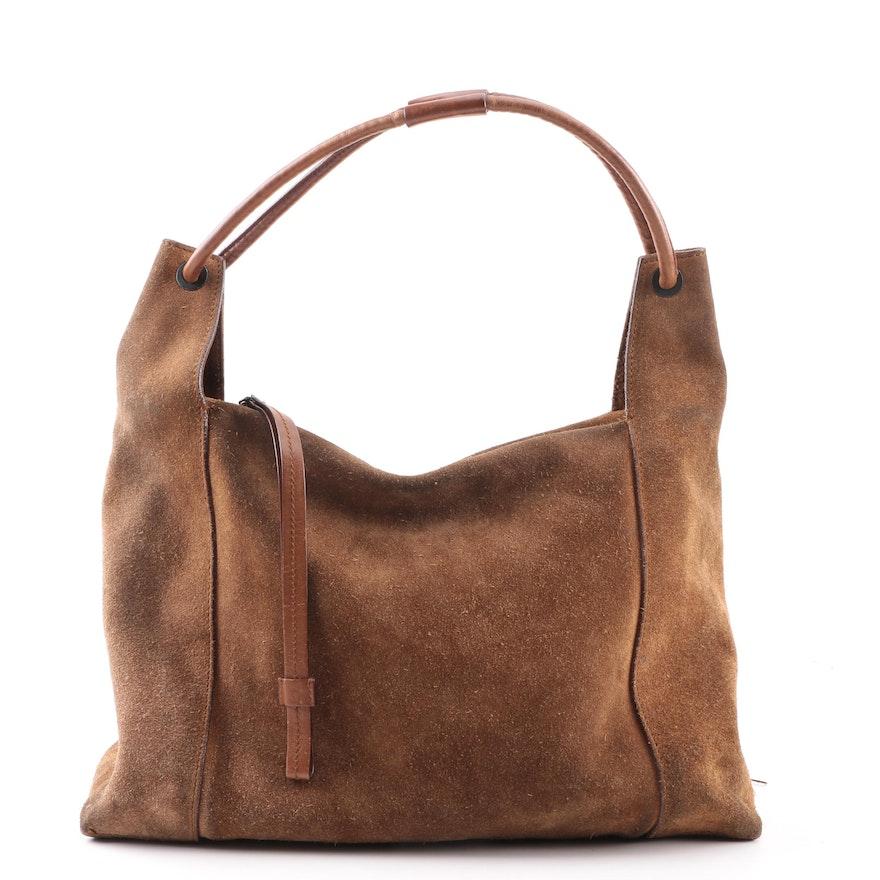 29716c33a880 Vintage Gucci Brown Suede Hobo Bag   EBTH