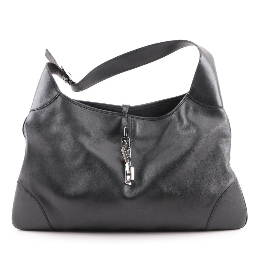 Vintage Gucci Black Leather Hobo Bag