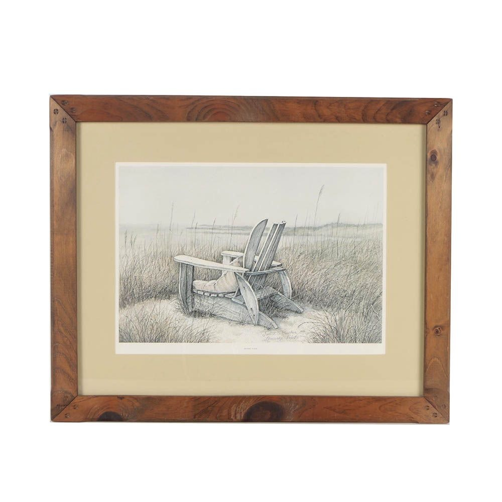 """Judith Plucker Limited Edition Offset Lithograph """"Sitting Place"""""""