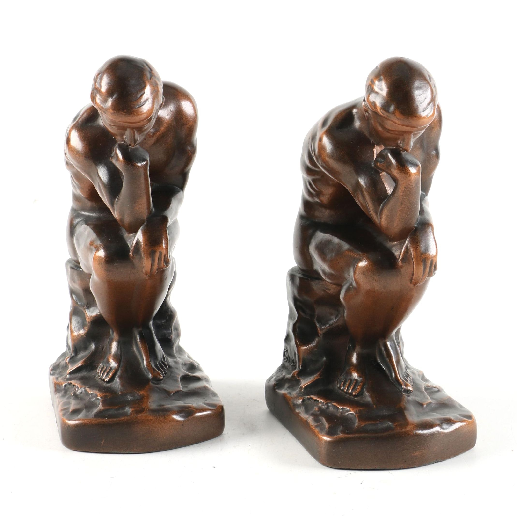1929 Nuart Thinker Metal Bookends