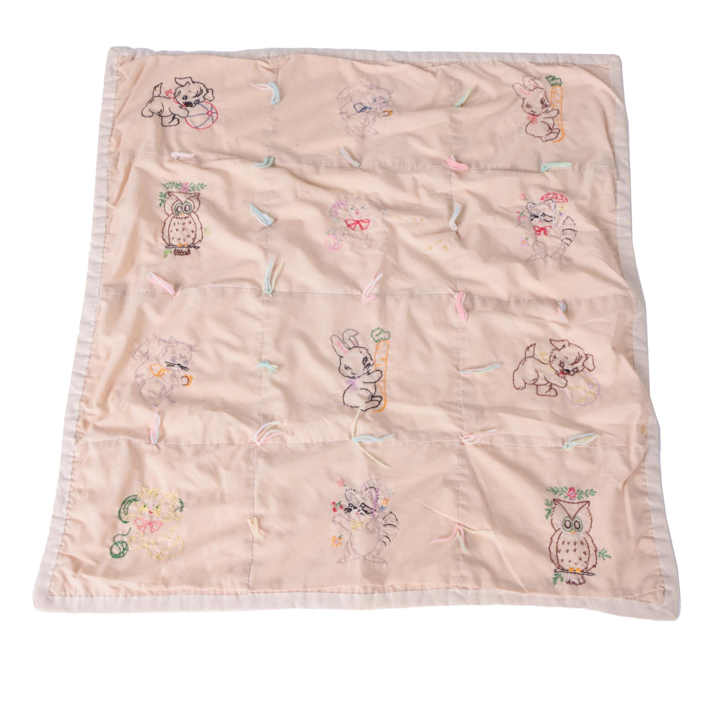 Children's Blanket with Embroidered Animals