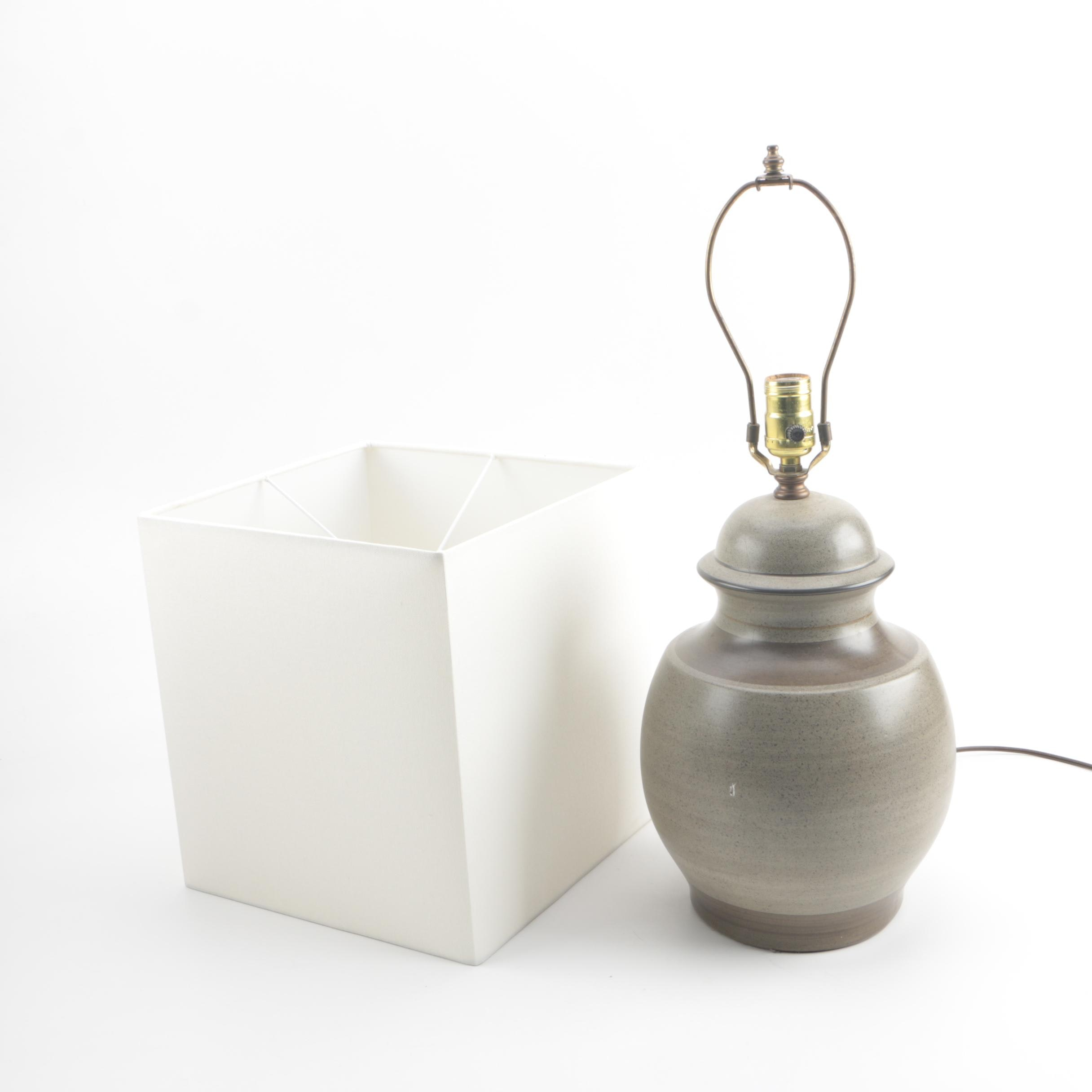 Brown and Grey Ceramic Table Lamp with White Fabric Square Lampshade