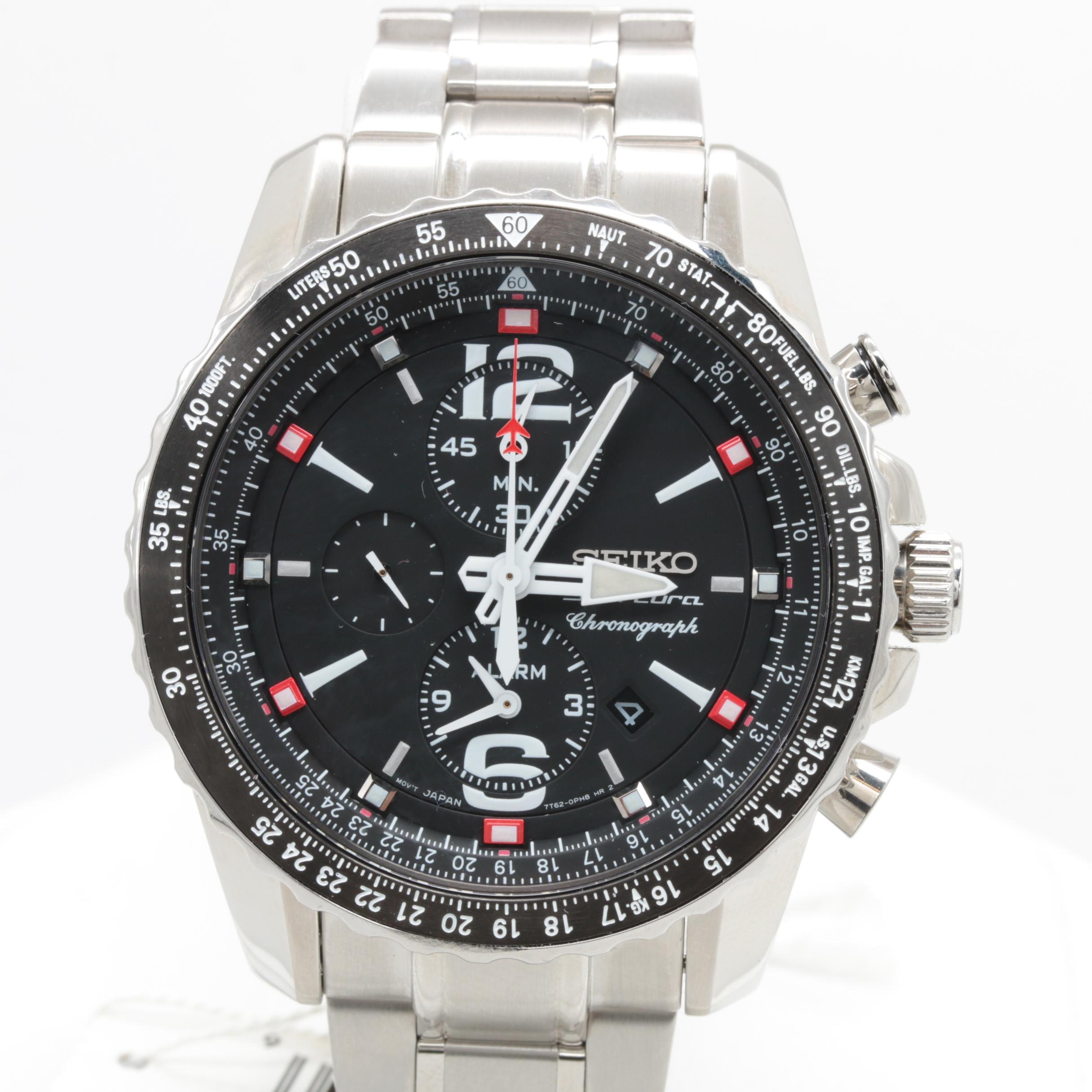 Seiko Stainless Steel Black Dial Chronograph Wristwatch