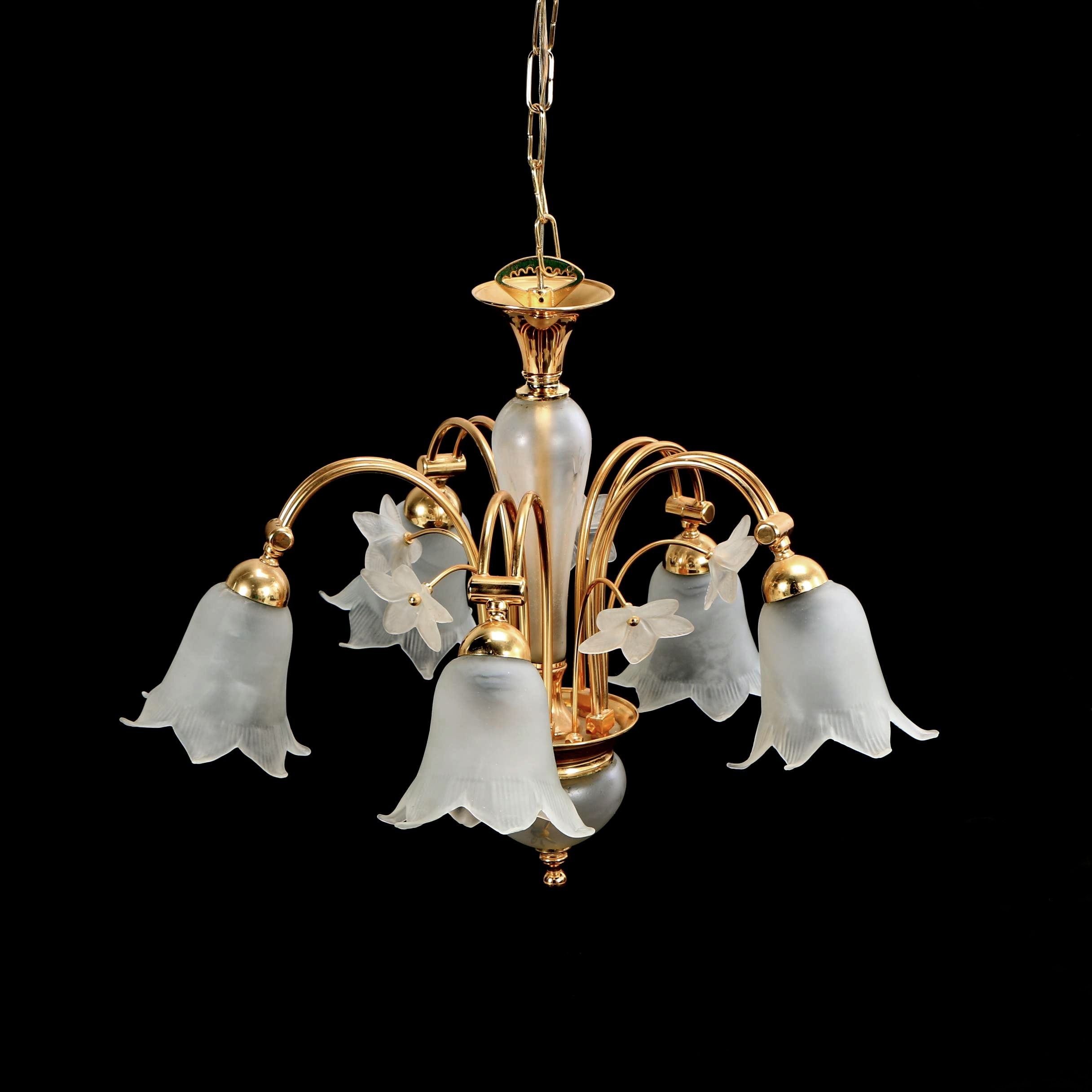 Brass Toned Chandelier with Frosted Glass Lily Shaped Shades and Accents