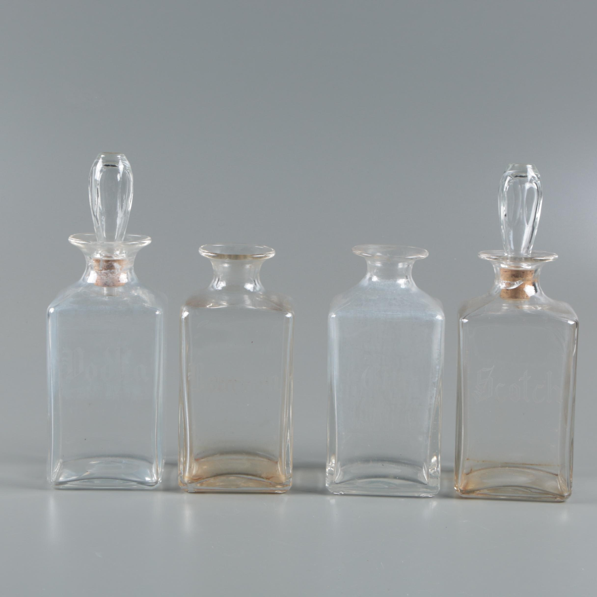 Scotch, Vodka, Bourbon and Gin Etched Glass Decanter Set