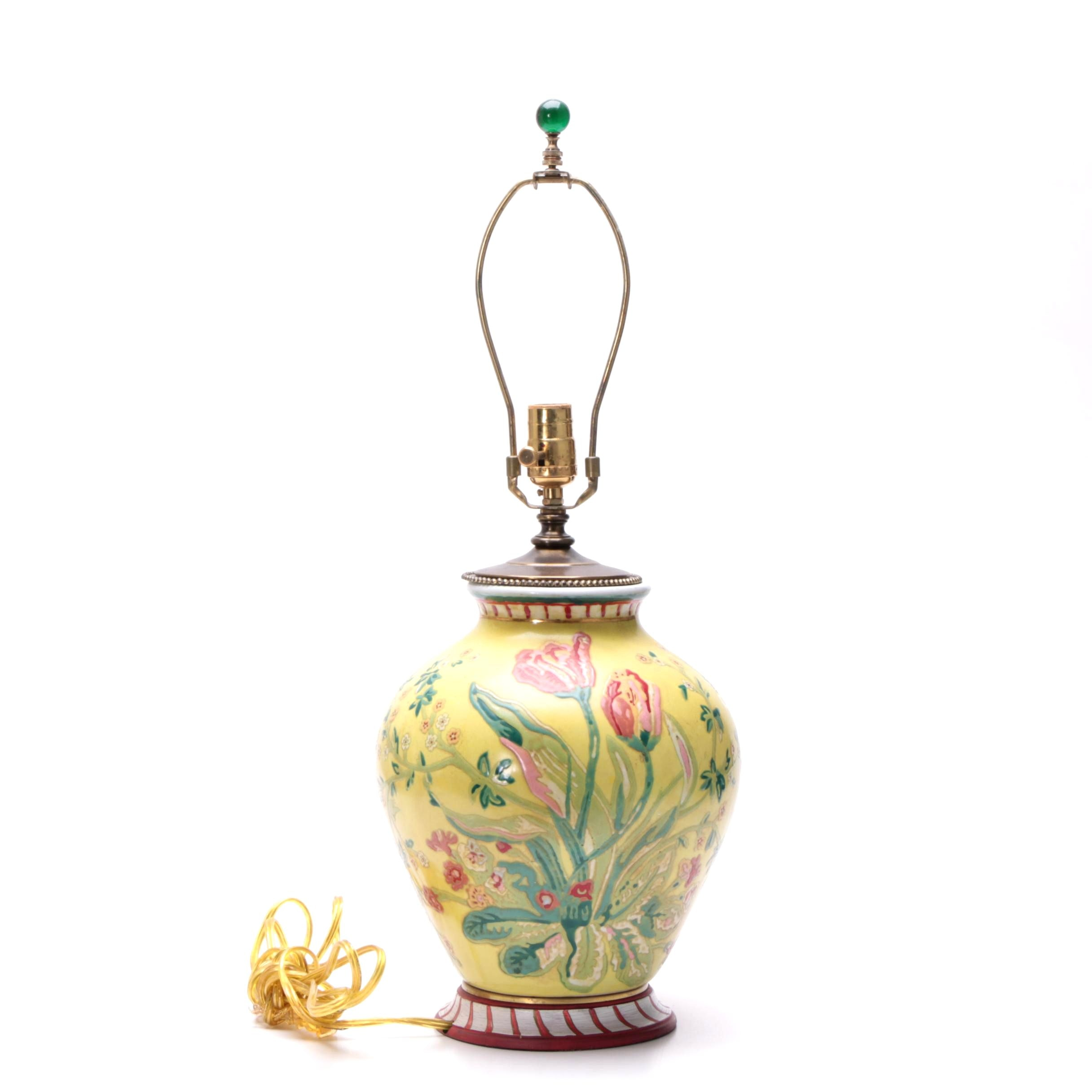 Ceramic and Brass Table Lamp with a Tulip Motif Attributed to Excelsior