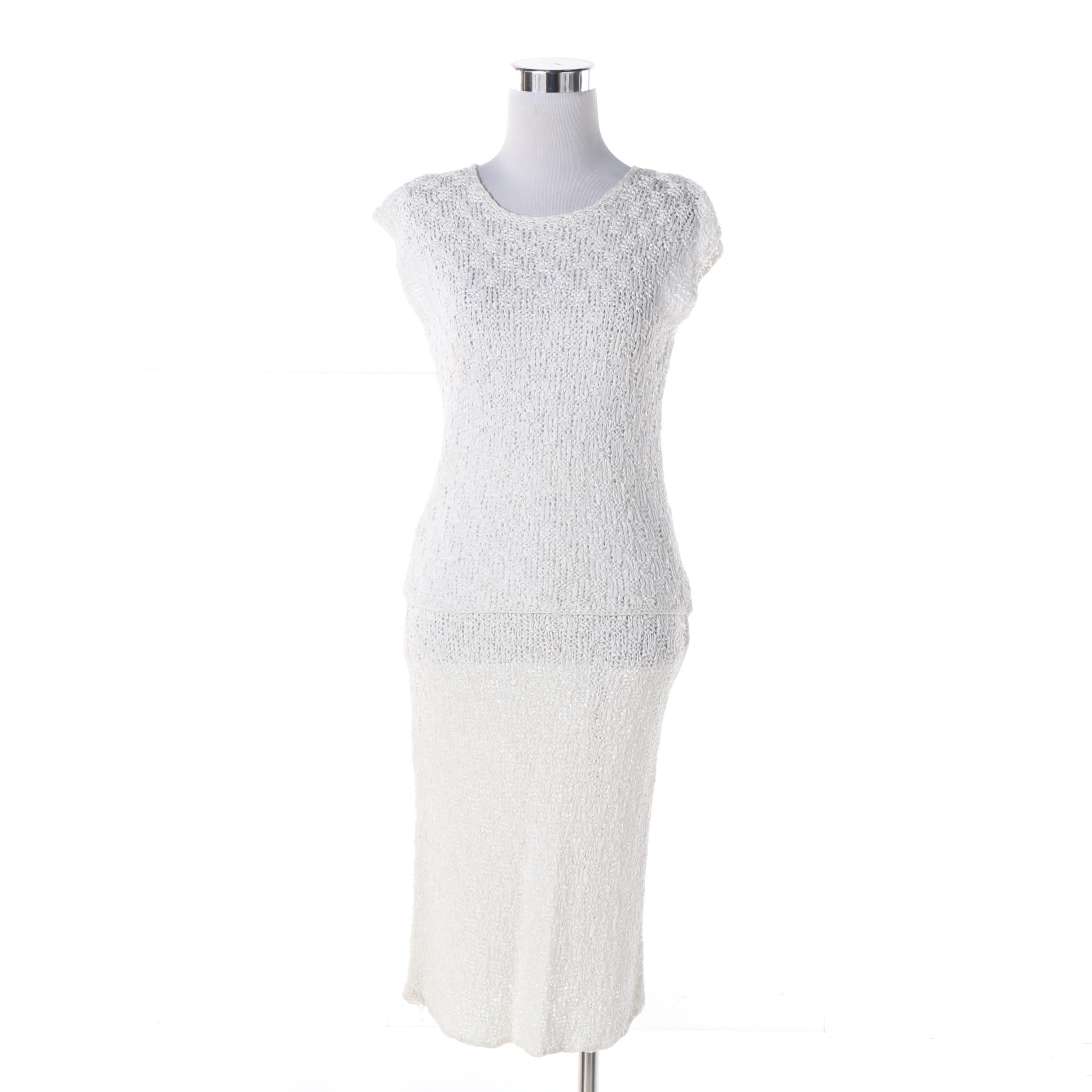 Women's 1960s Vintage White Silk Ribbon Crochet Top and Skirt Set