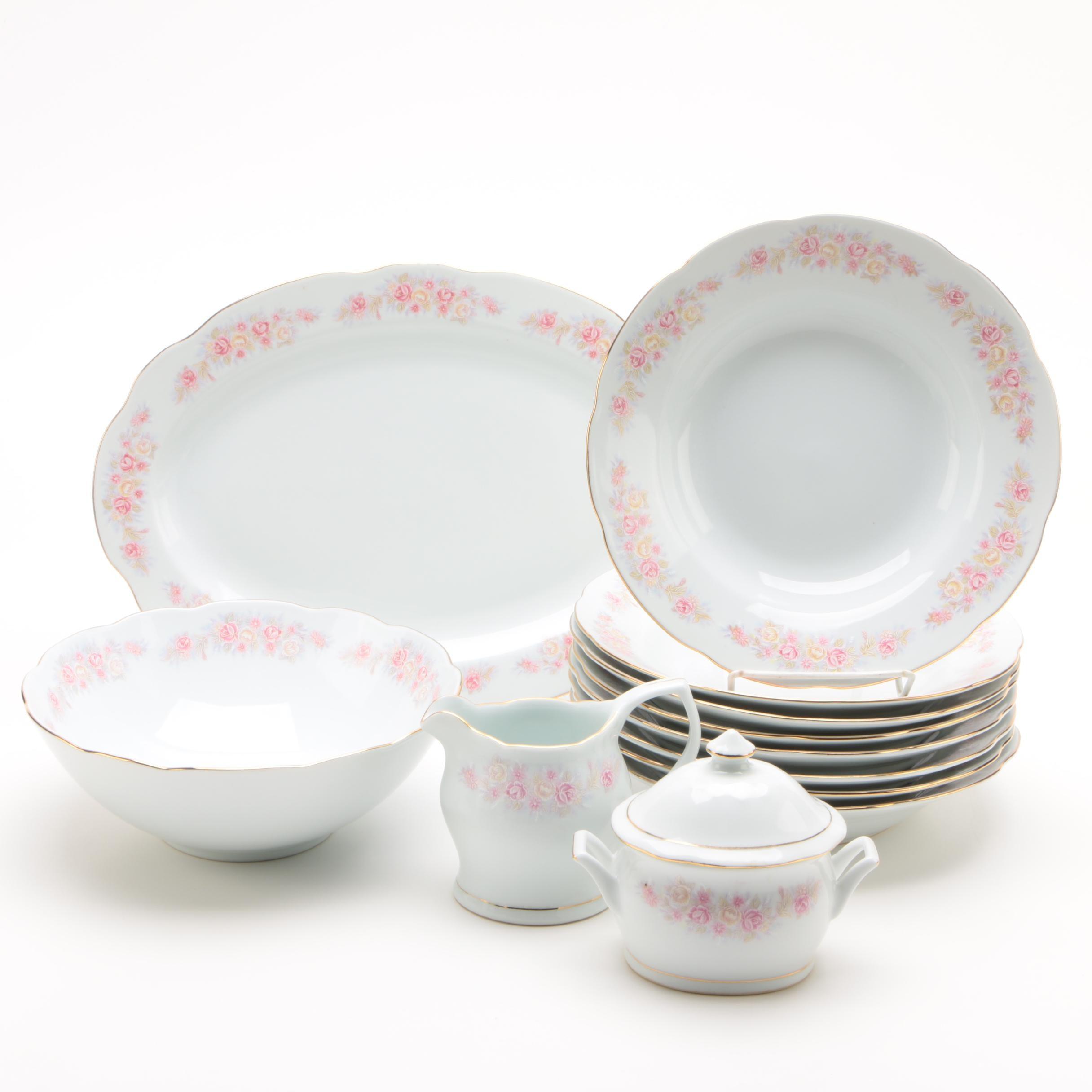 Vintage Chinese Floral Porcelain Dinnerware Set