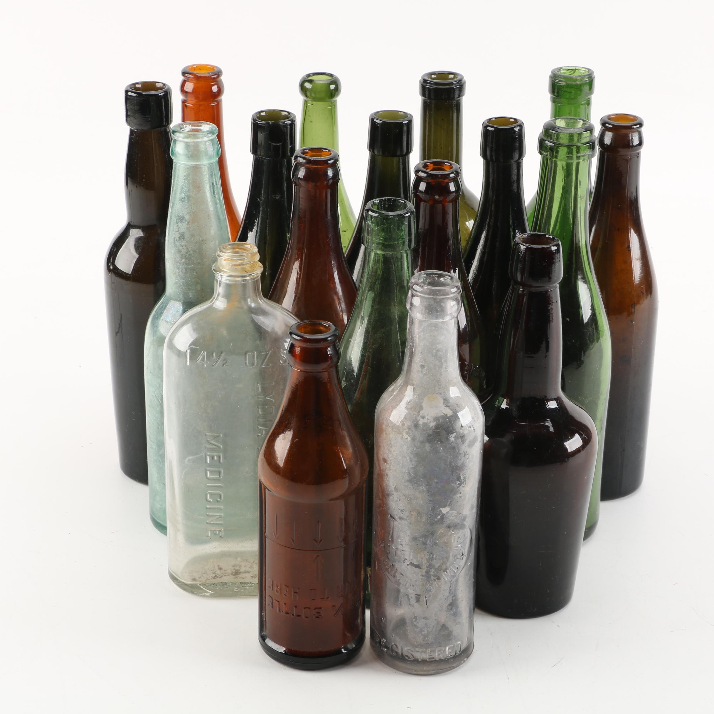 Vintage Glass Bottles, including Certo and Darley Park Brewery
