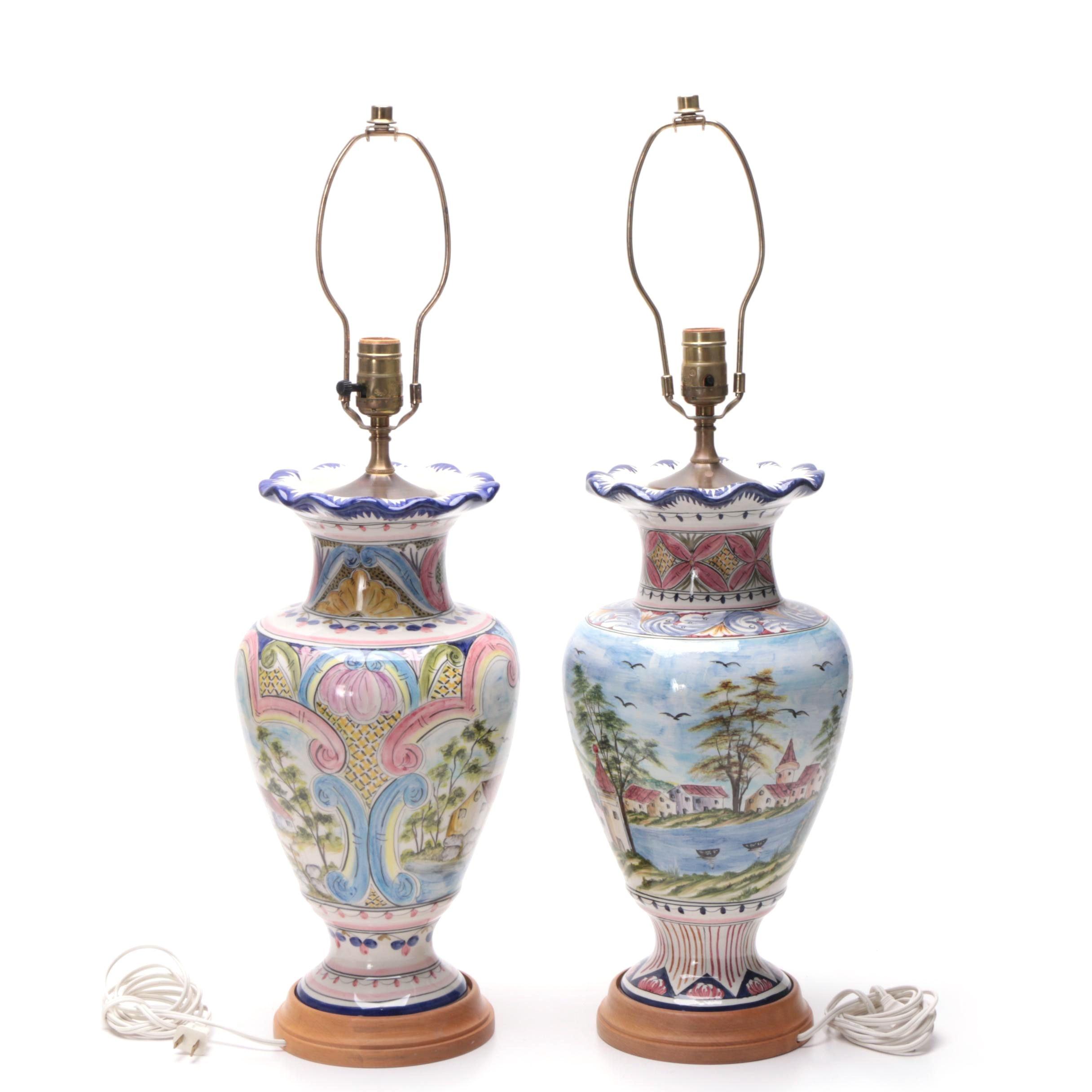 Repurposed Vase Table Lamps featuring Hand-Painted Seaside Scenes