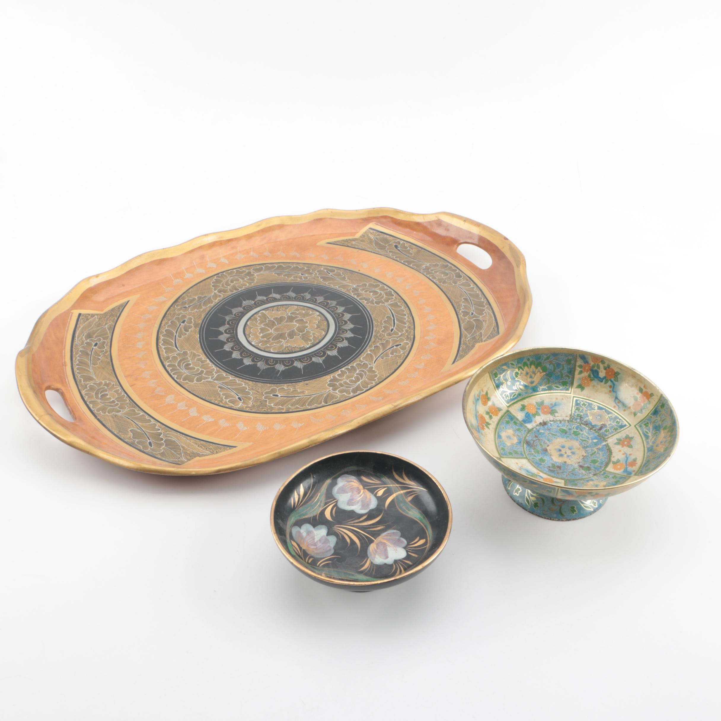 """Baret Ware """"Canton"""" and Italian Metal Bowls with Wood Tray"""