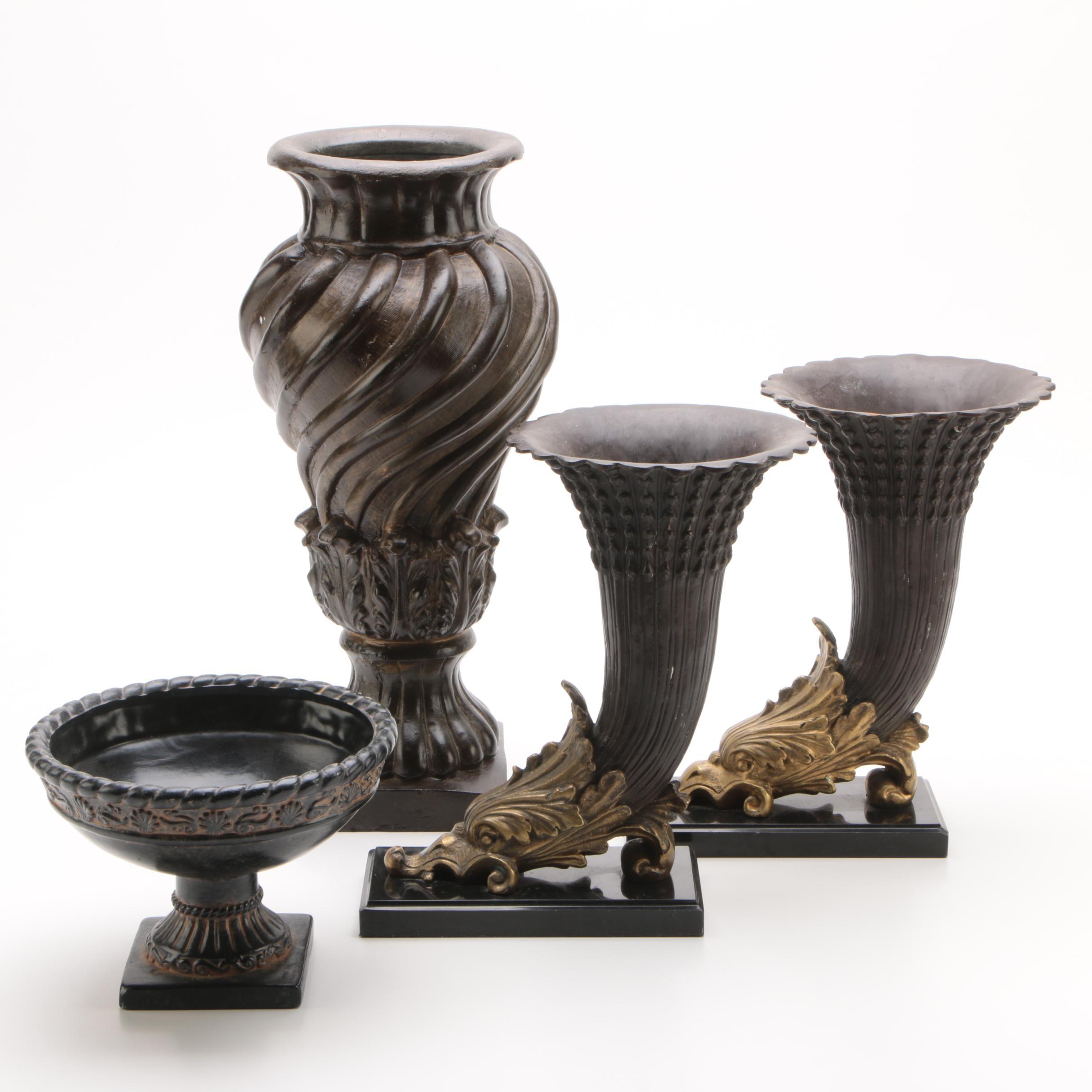 Contemporary Decorative Vases Including Cornucopias