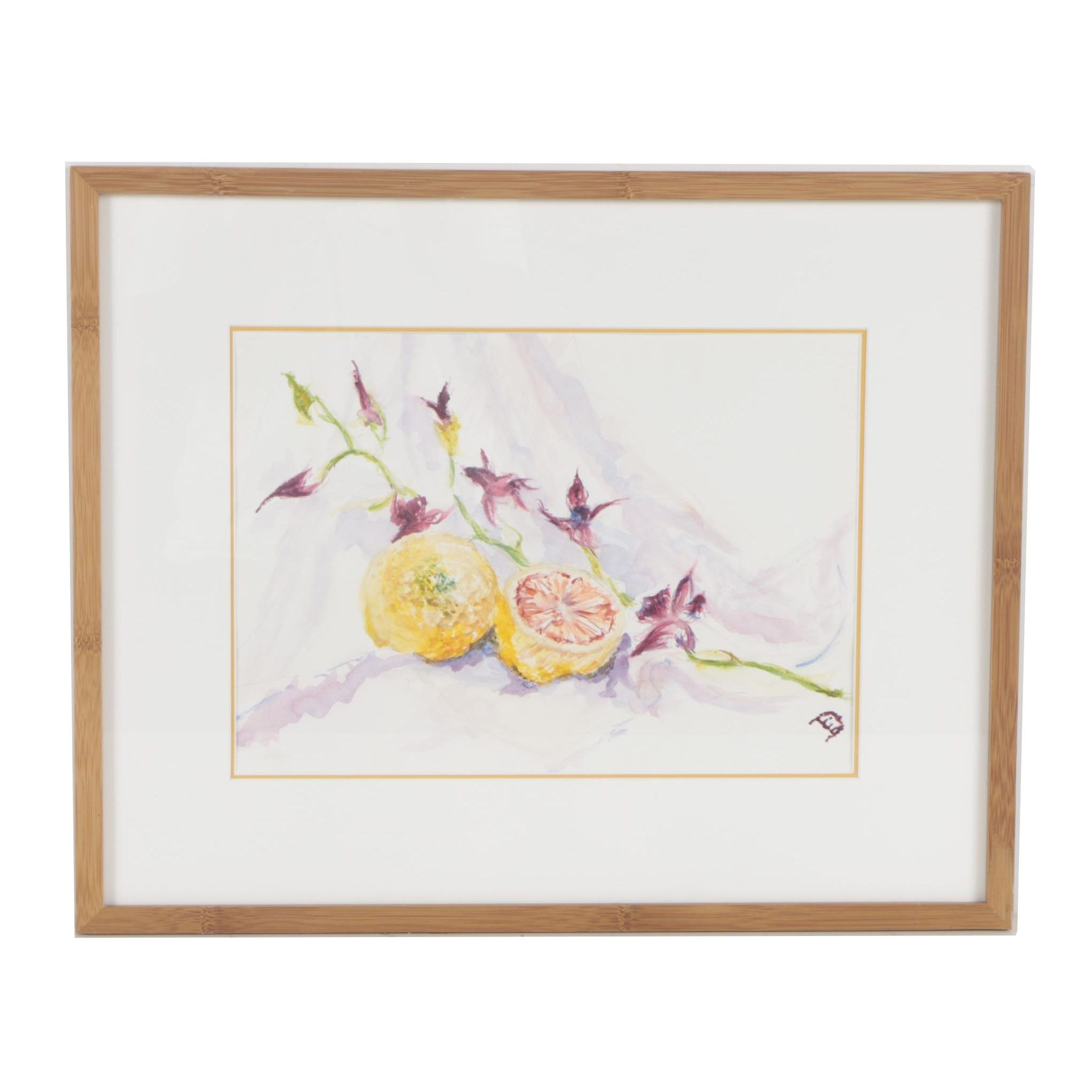 "Eve D'Amato Watercolor Painting ""With a Slice of Lemon"""