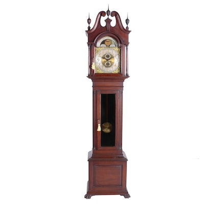 American Mahogany Tall Case Clock by Nelson H. Brown of Boston, Circa 1900