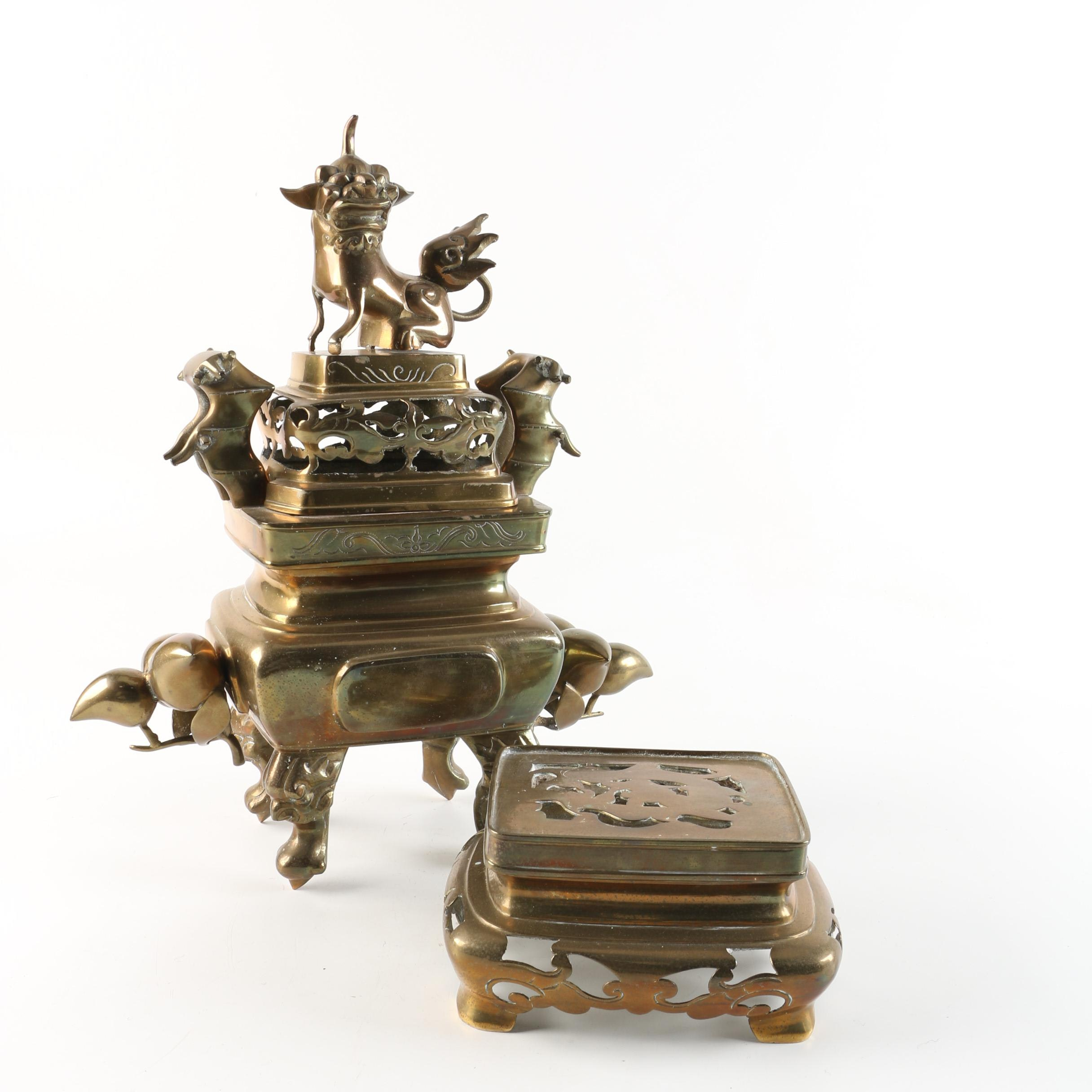 Chinese Brass Incense Burner with Reticulated Cover and Stand