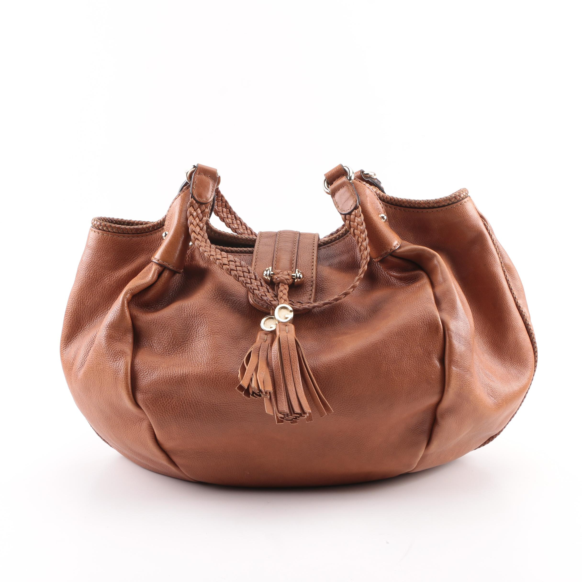 Gucci Brown Pebbled Leather Hobo Bag