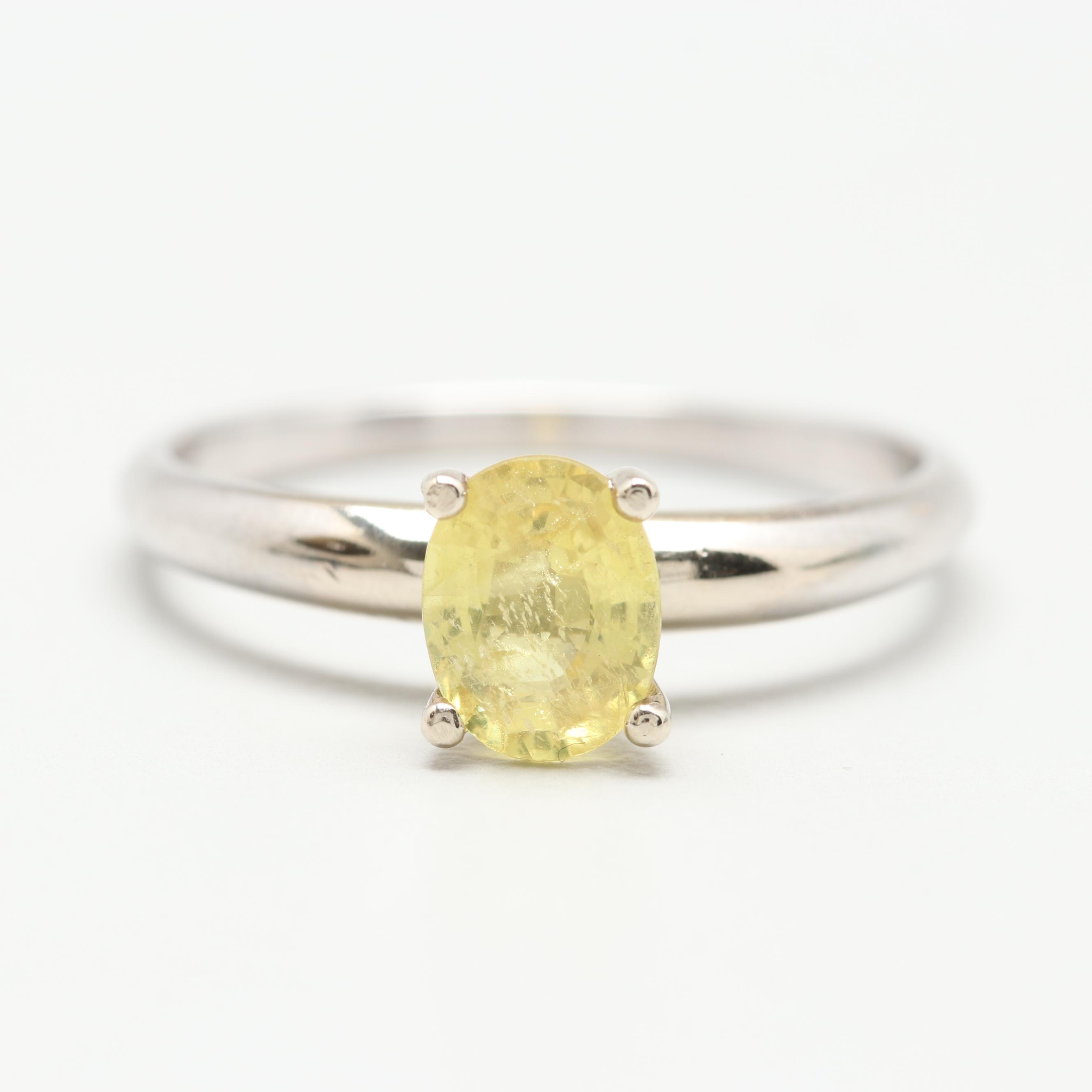 14K White Gold Yellow Sapphire Solitaire Ring