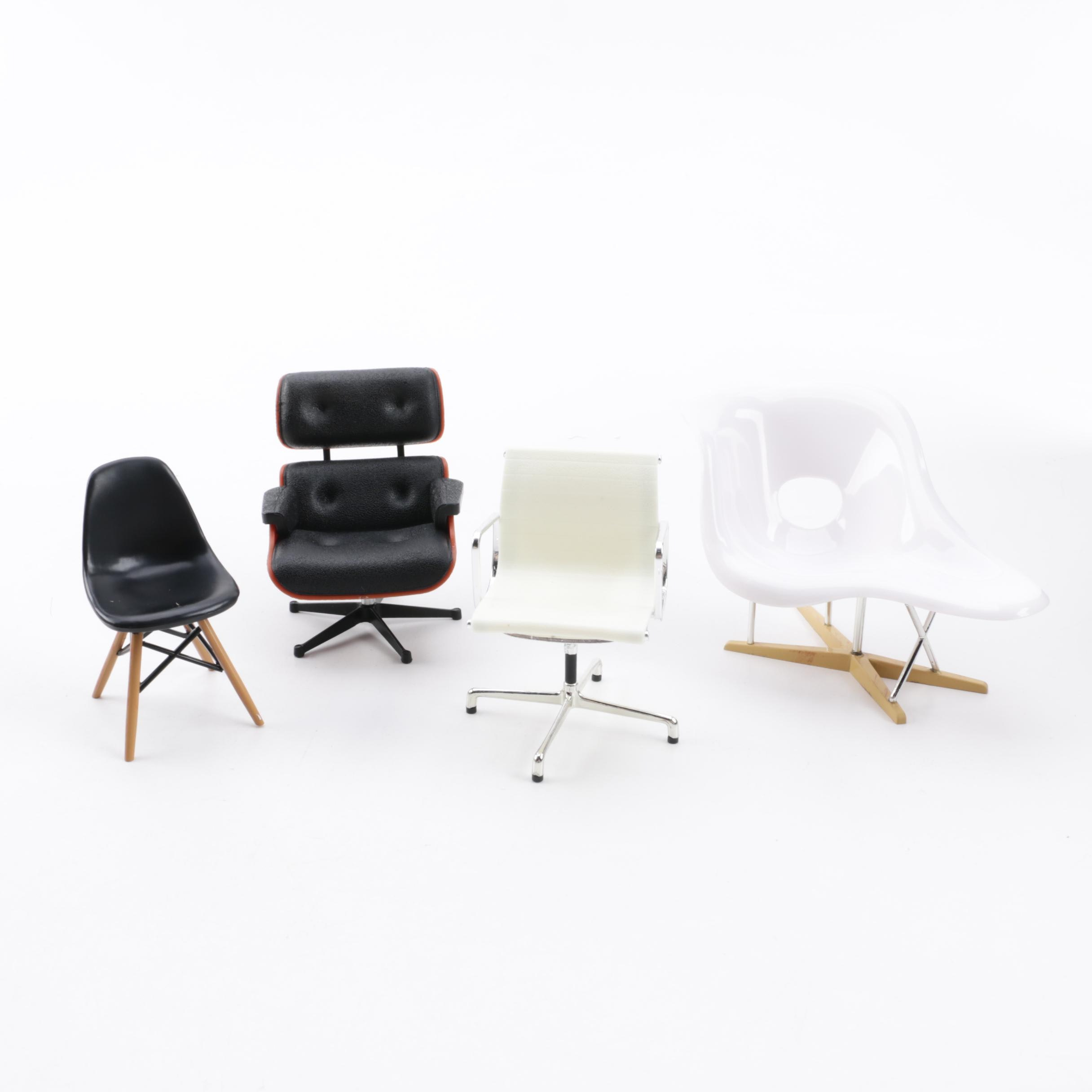Miniature Eames Lounge Chair, DSW Chair, La Chaise and Management Chair