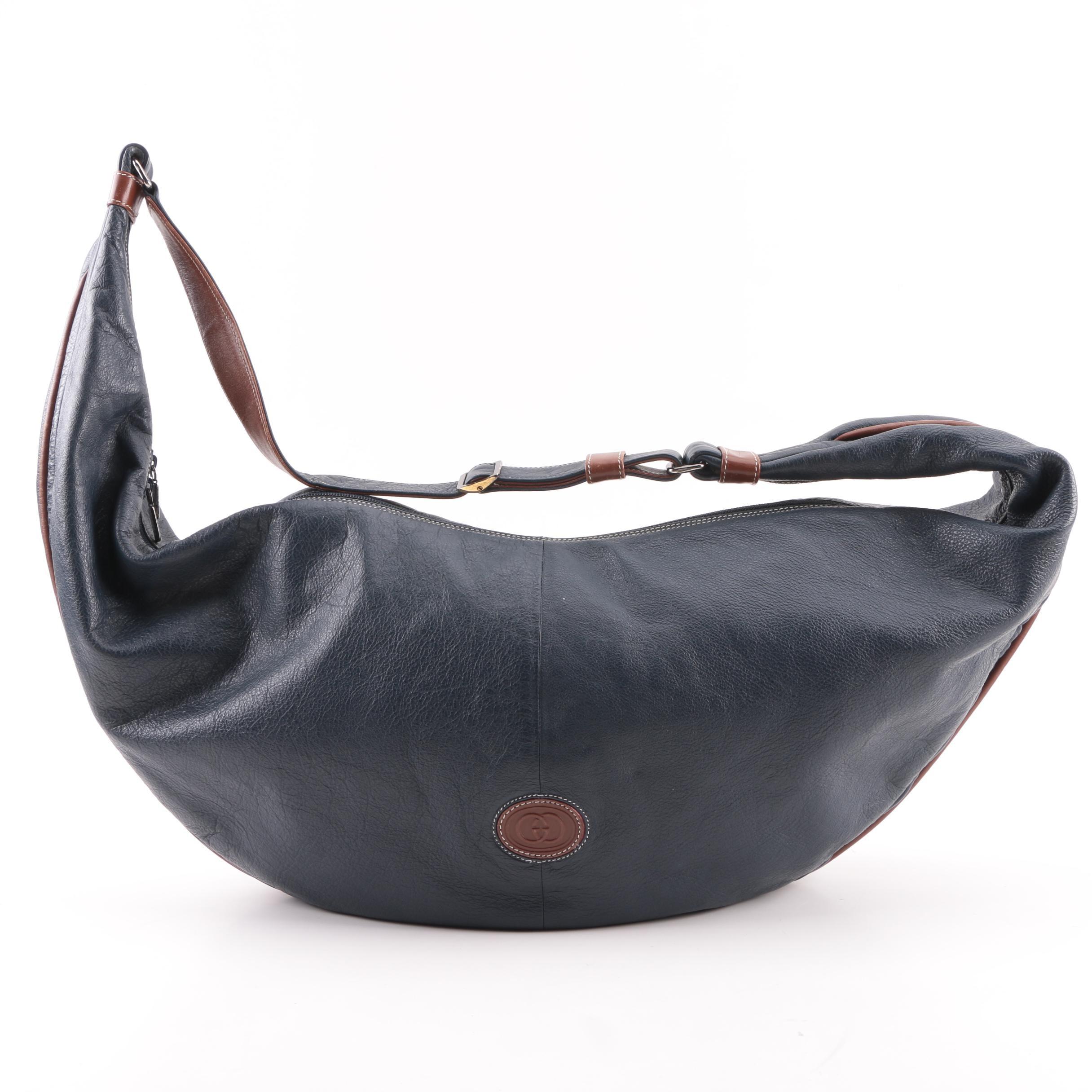 Vintage Gucci Navy Leather Hobo Sling Bag